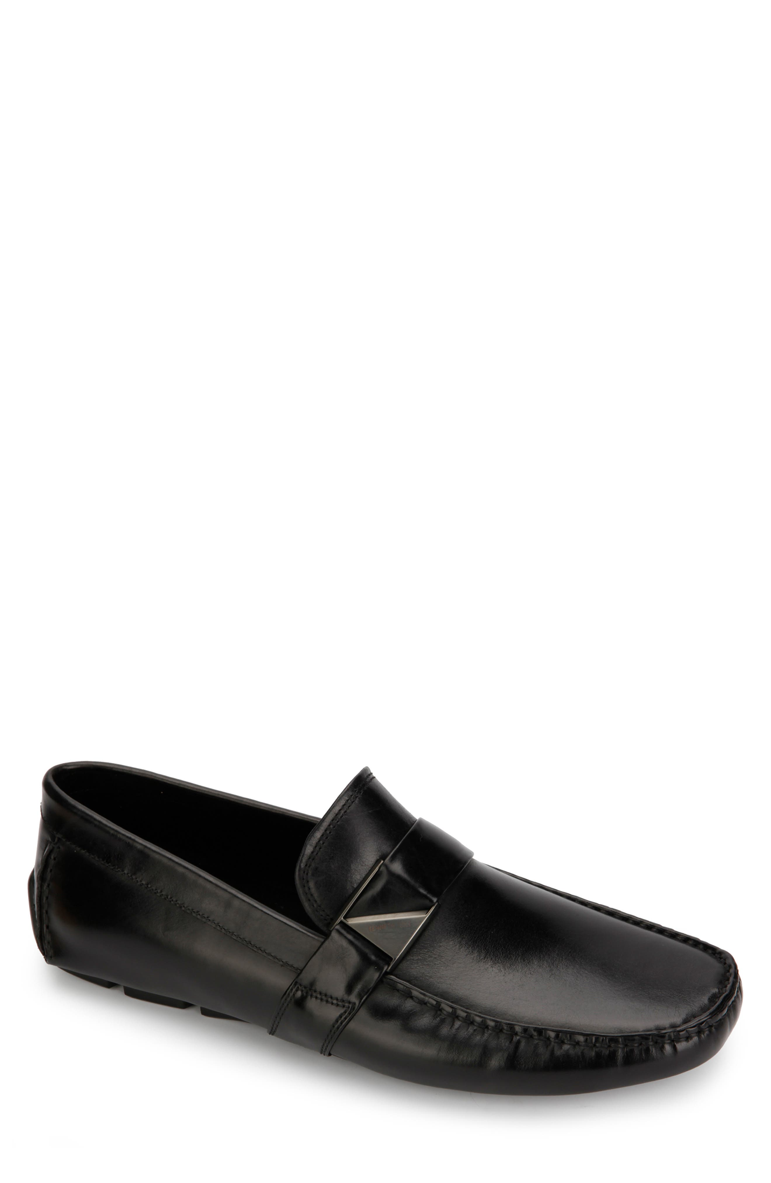 KENNETH COLE NEW YORK Theme Driving Shoe, Main, color, BLACK LEATHER