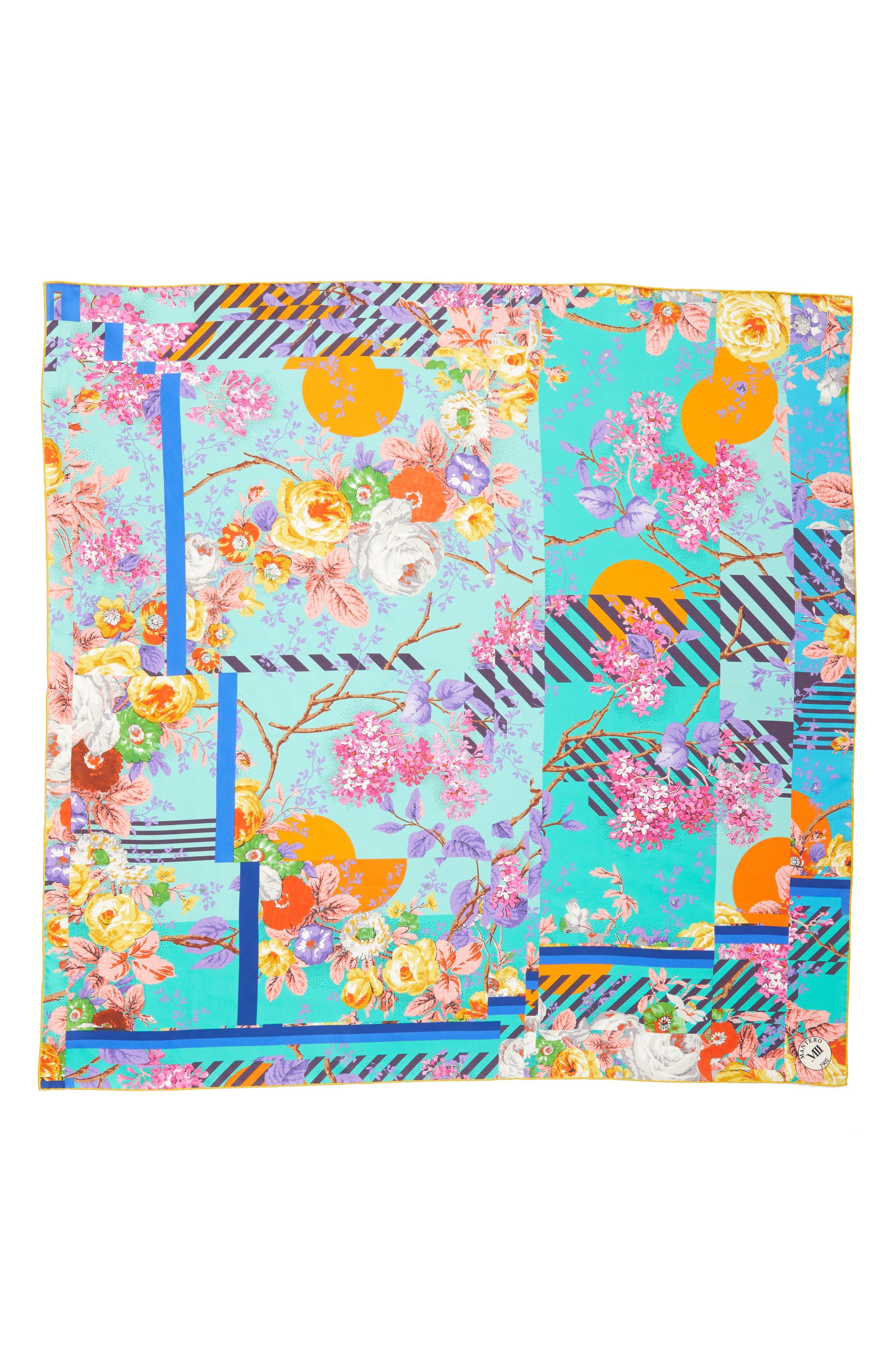Amarcord Square Silk Scarf,                             Main thumbnail 1, color,                             JADE