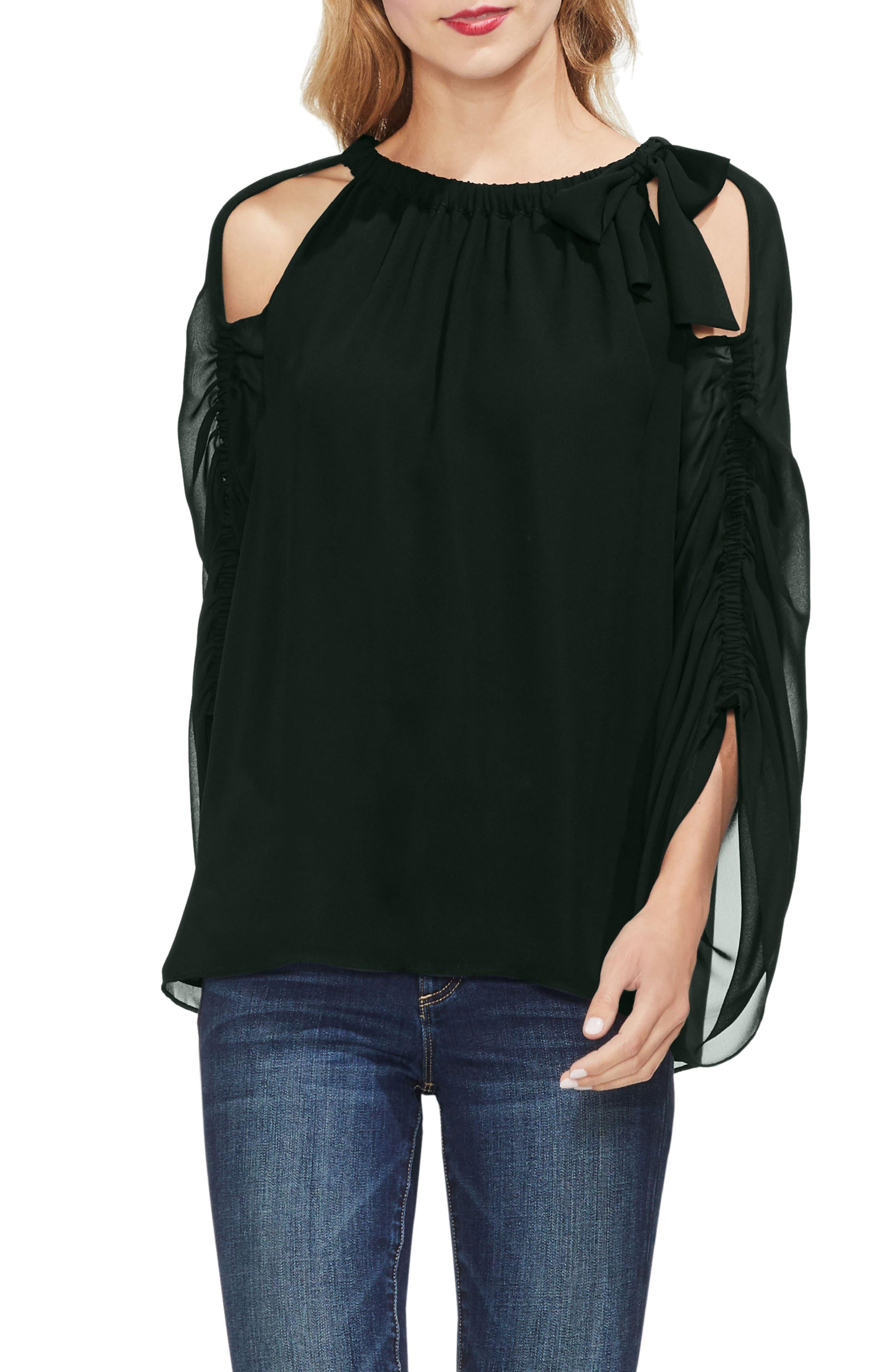 Cold Shoulder Bow Neck Top,                         Main,                         color, 006