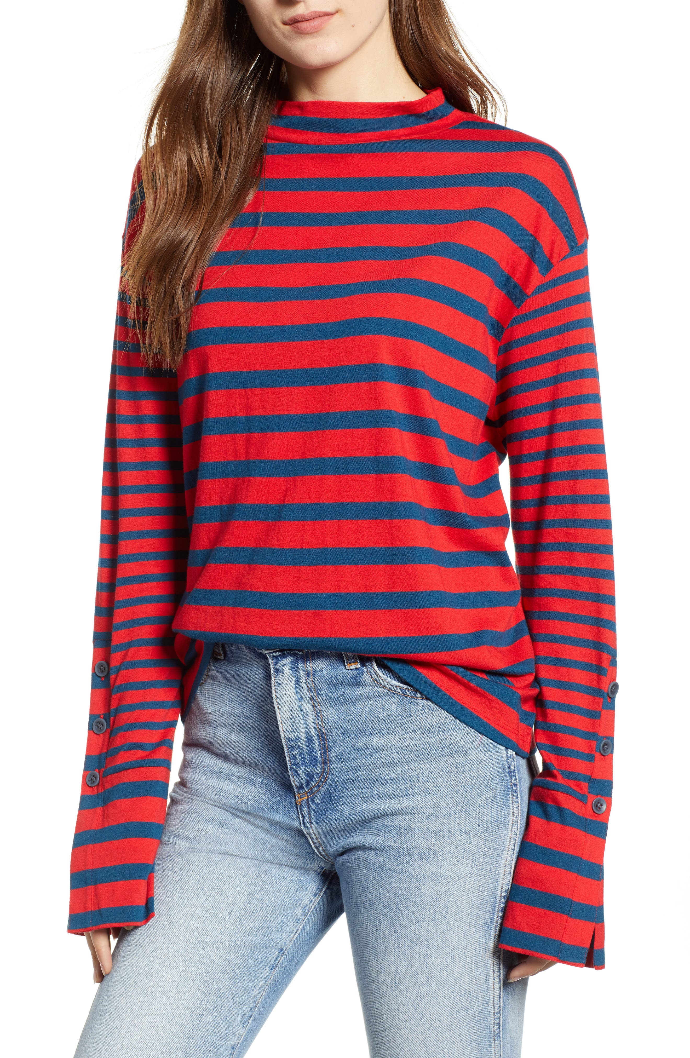 Stripe Mock Neck Tee,                         Main,                         color, RED CHINOISE ELAINE STRIPE