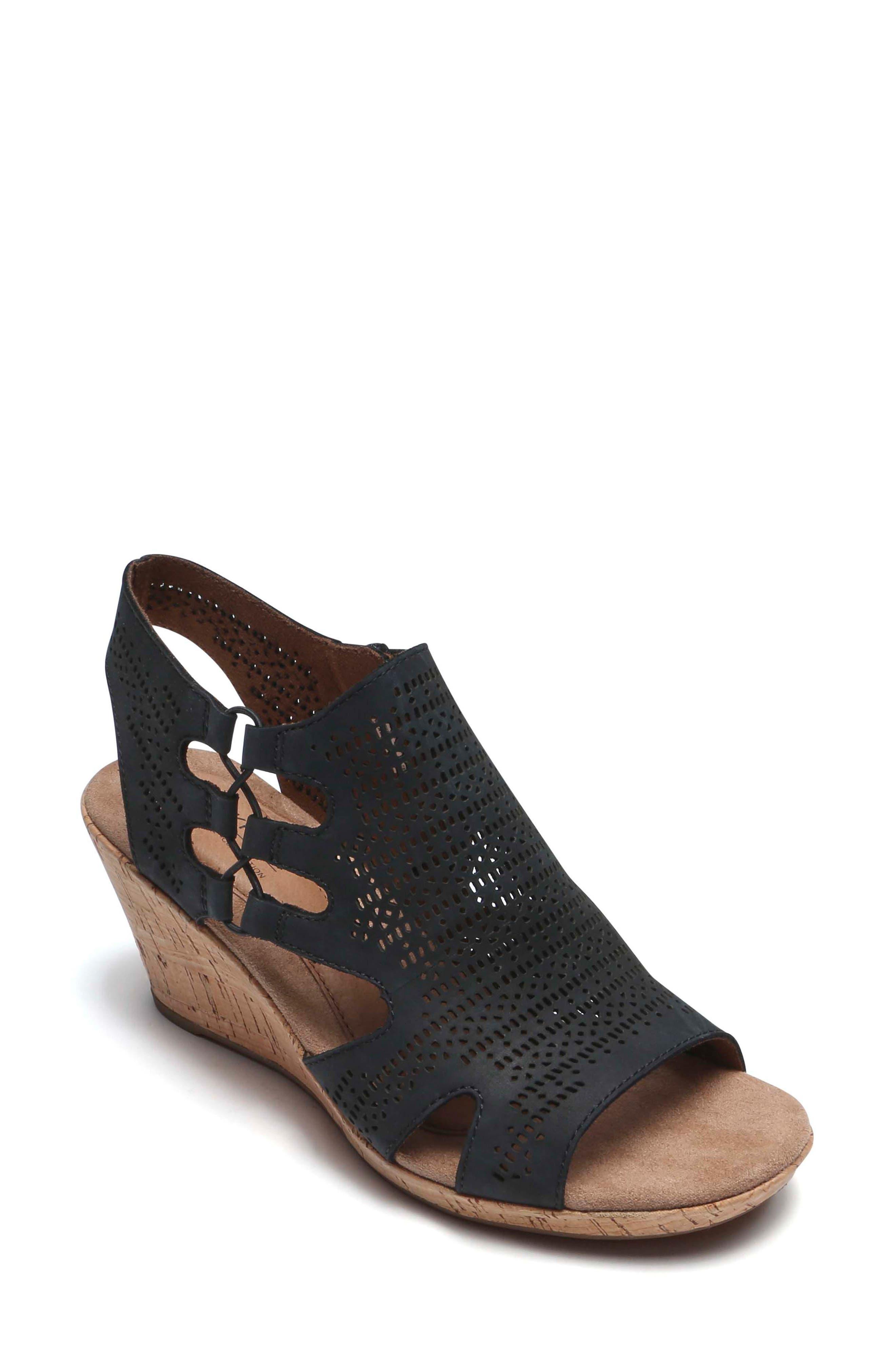 Janna Perforated Wedge Sandal,                             Main thumbnail 1, color,                             BLACK NUBUCK LEATHER