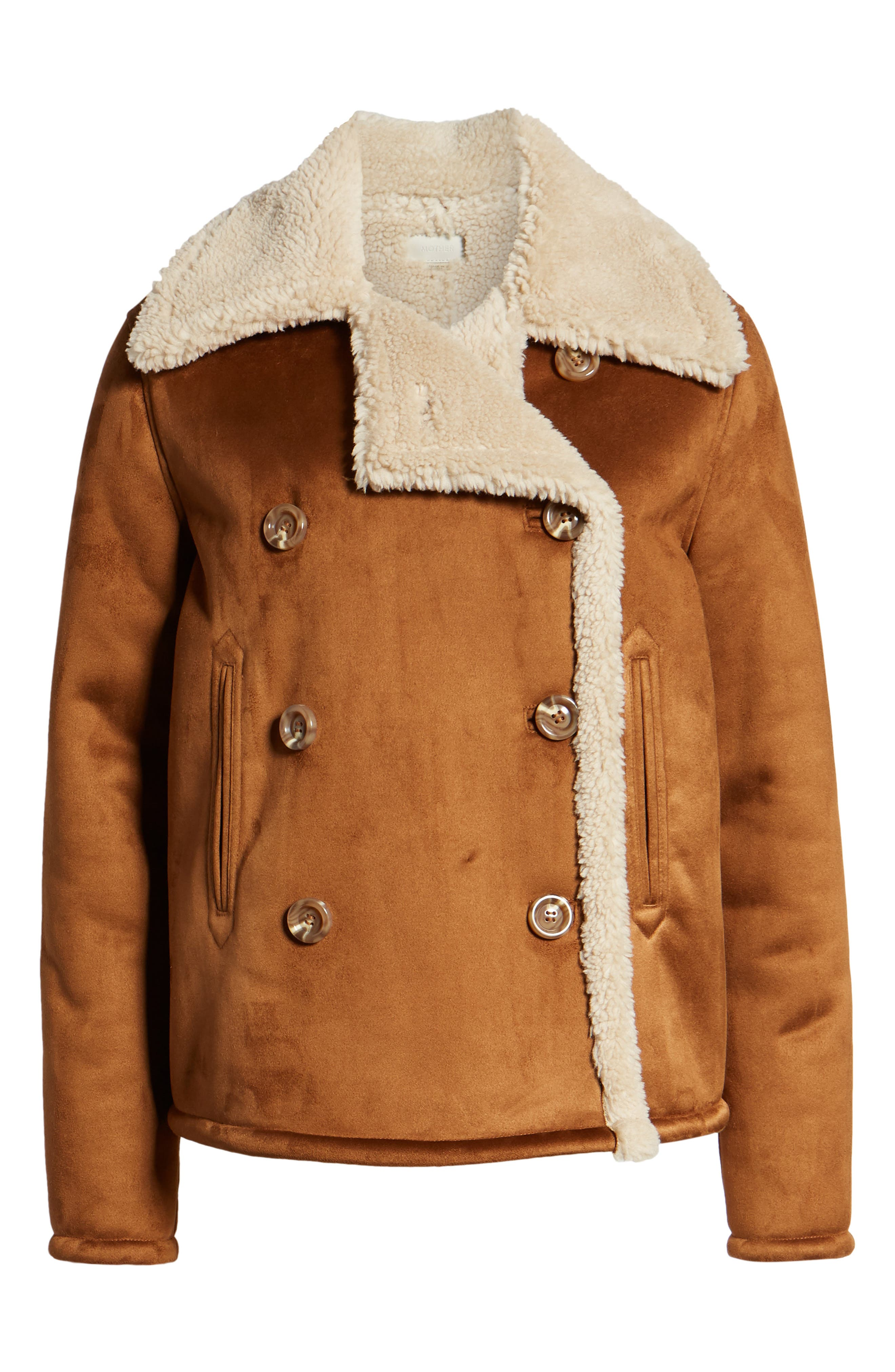 The Shrunken Faux Shearling Peacoat,                             Alternate thumbnail 6, color,                             TOAST TWILL