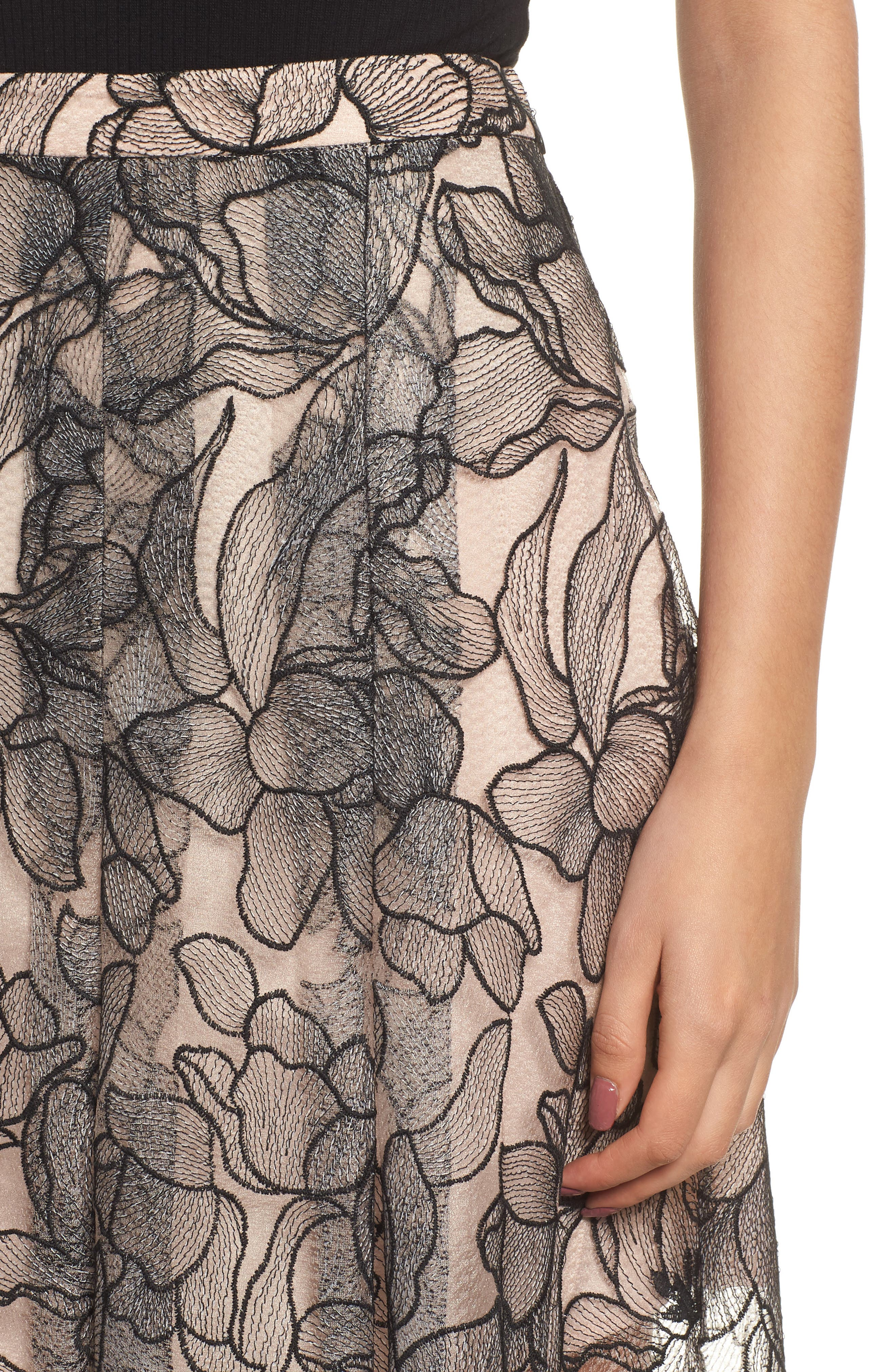 Pleated Lace Skirt,                             Alternate thumbnail 4, color,                             BLACK / NUDE EMBROIDERY