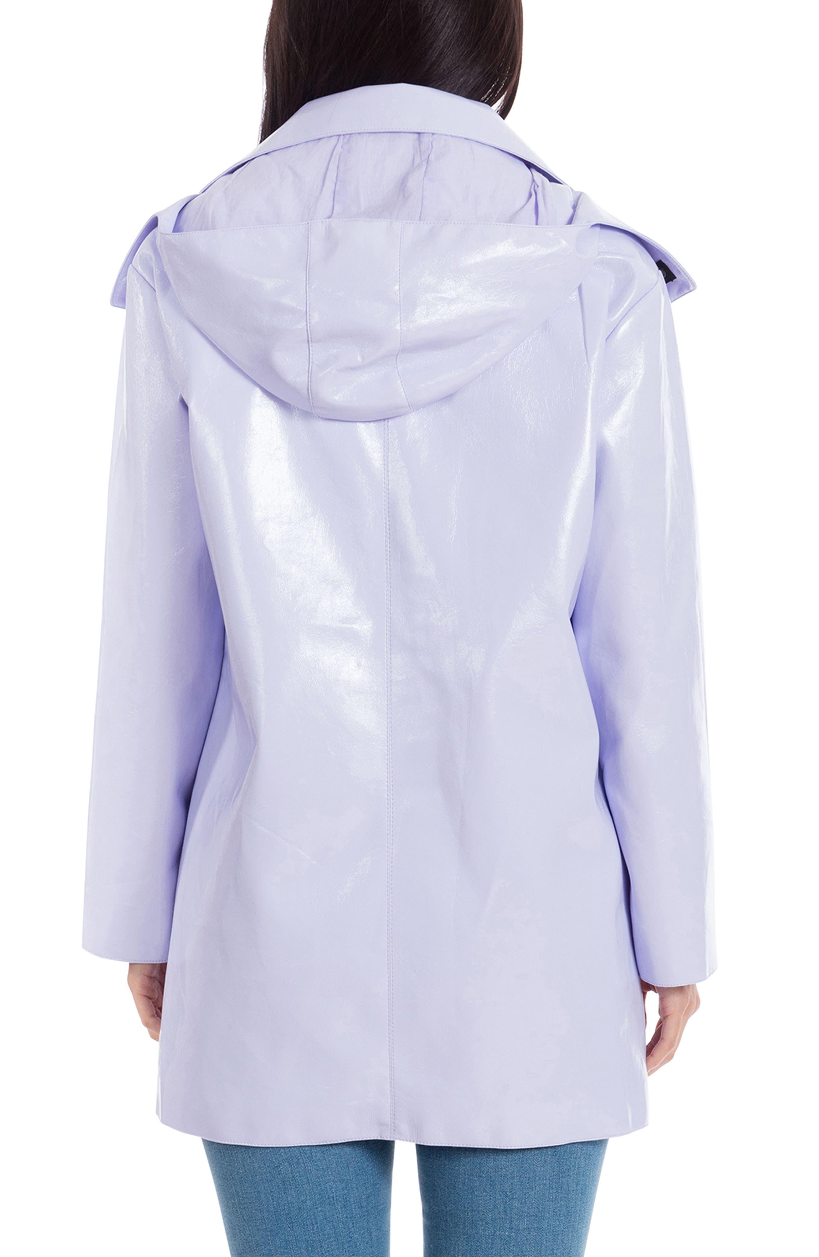 Faux Patent Leather Raincoat,                             Alternate thumbnail 2, color,                             LAVENDER