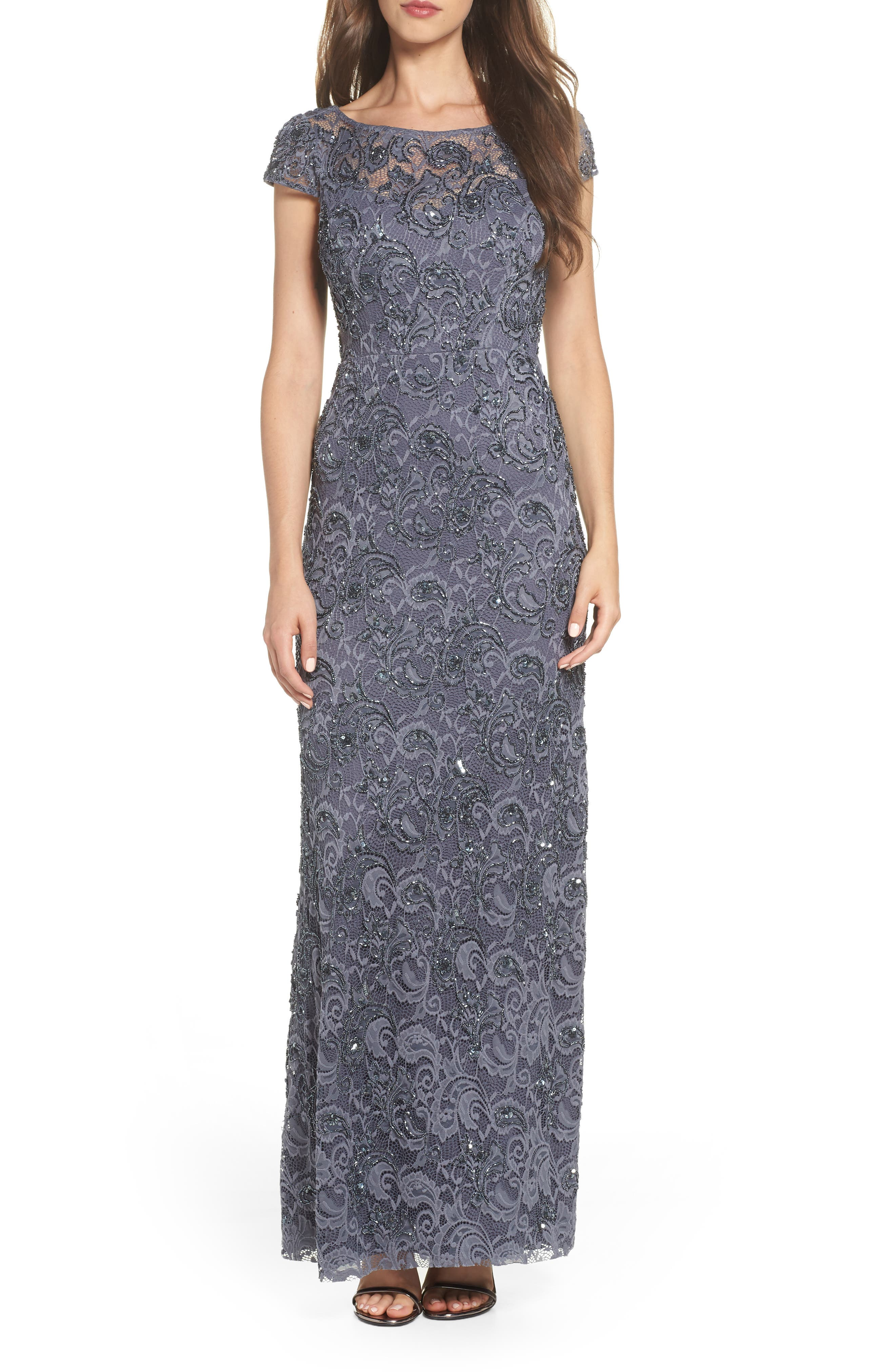 Adrianna Papell Beaded Lace Gown, Grey