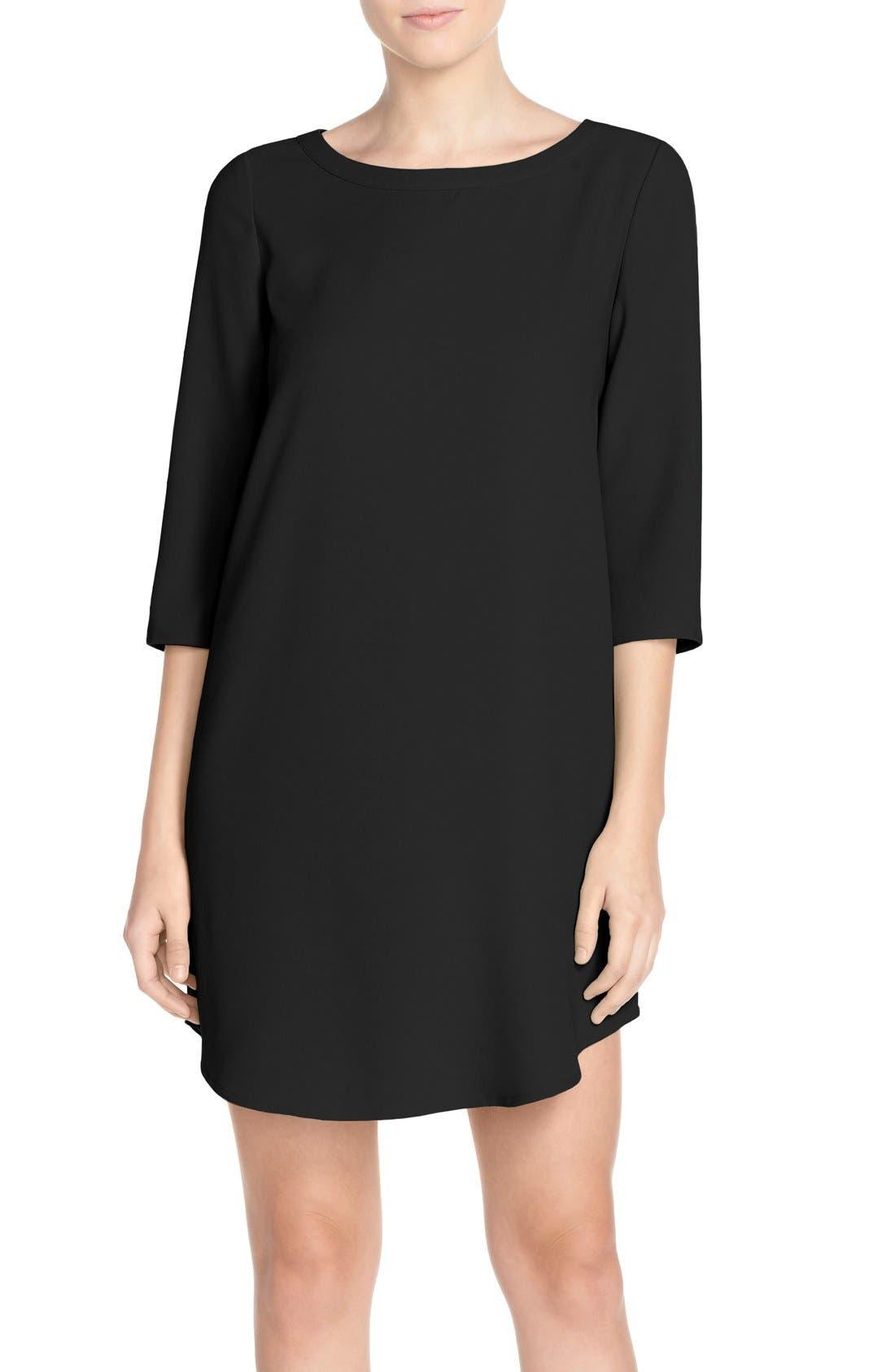 'Jazlyn' Crepe Shift Dress,                             Main thumbnail 1, color,                             BLACK