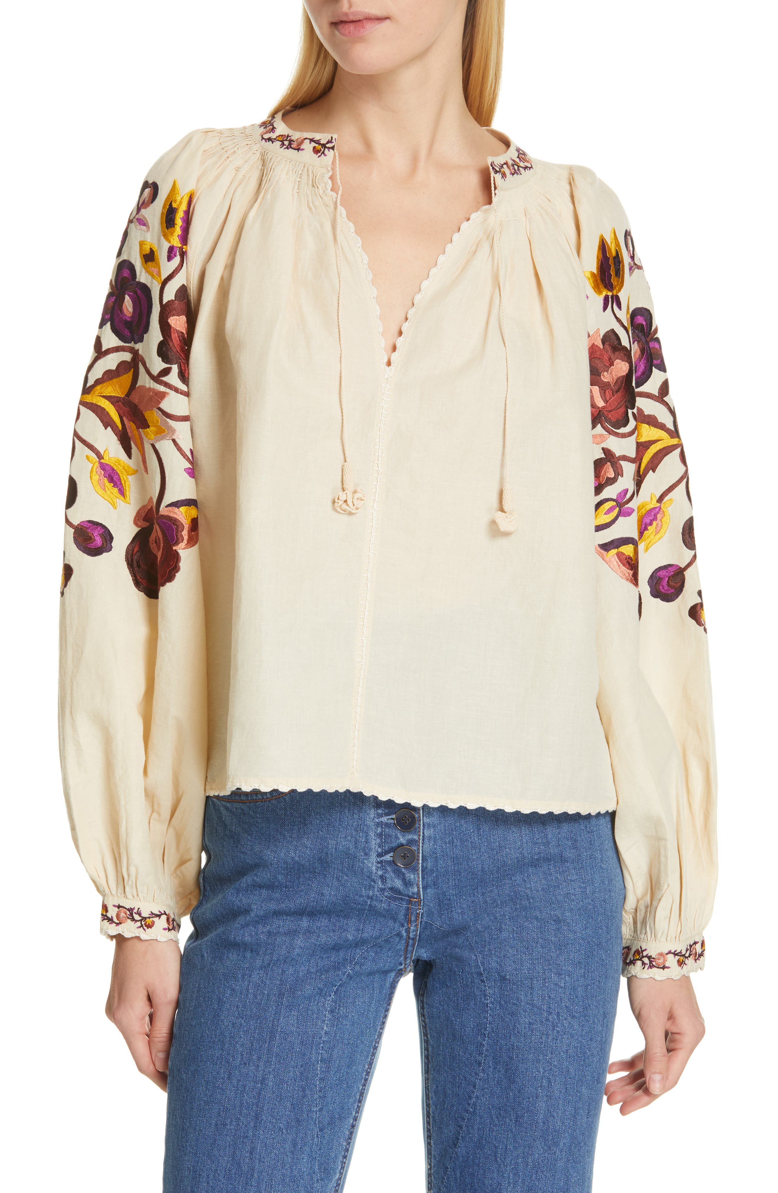 Simona Floral Embroidered Linen & Cotton Blouse, Main, color, NATURAL