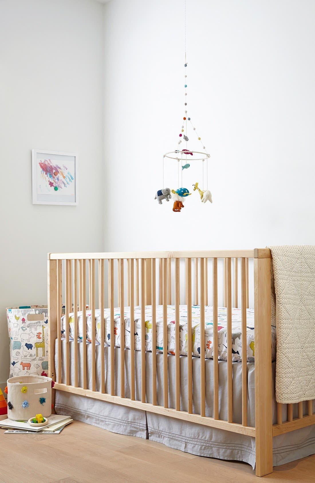 Noahs Ark Cotton Crib Sheet,                             Alternate thumbnail 2, color,