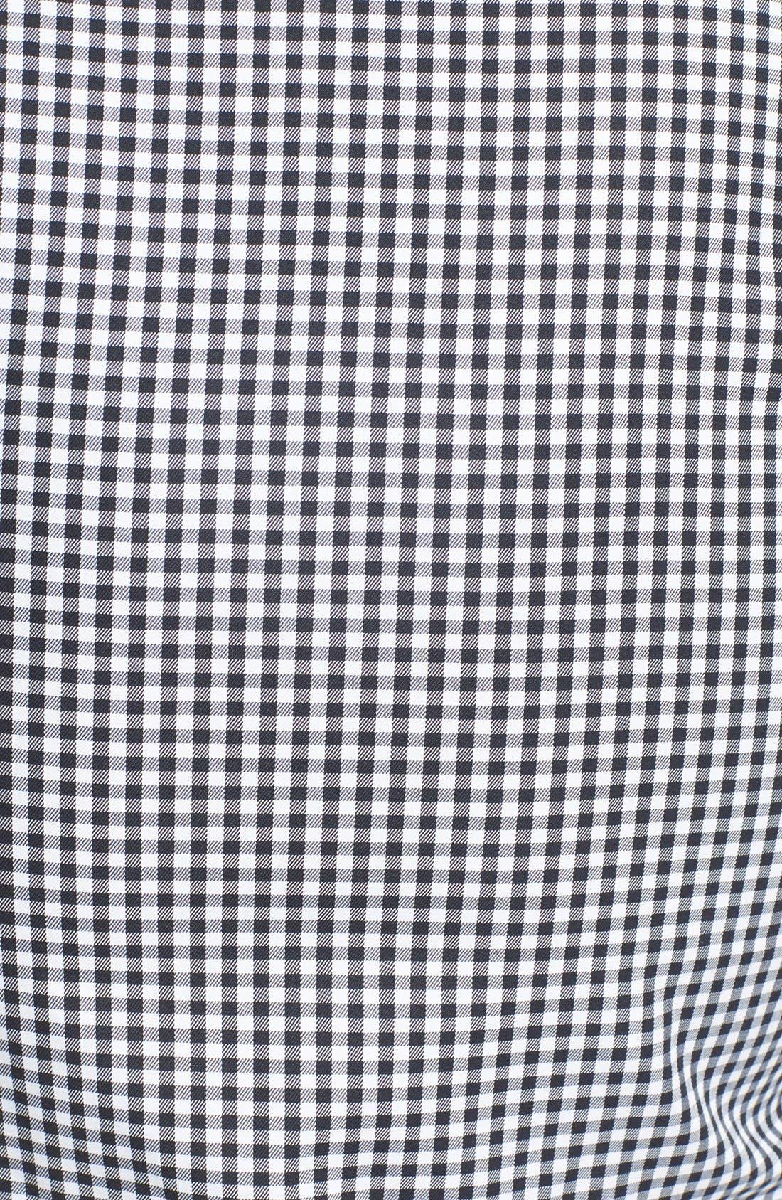 Trim Fit Non-Iron Gingham Dress Shirt,                             Alternate thumbnail 6, color,                             BLACK ROCK