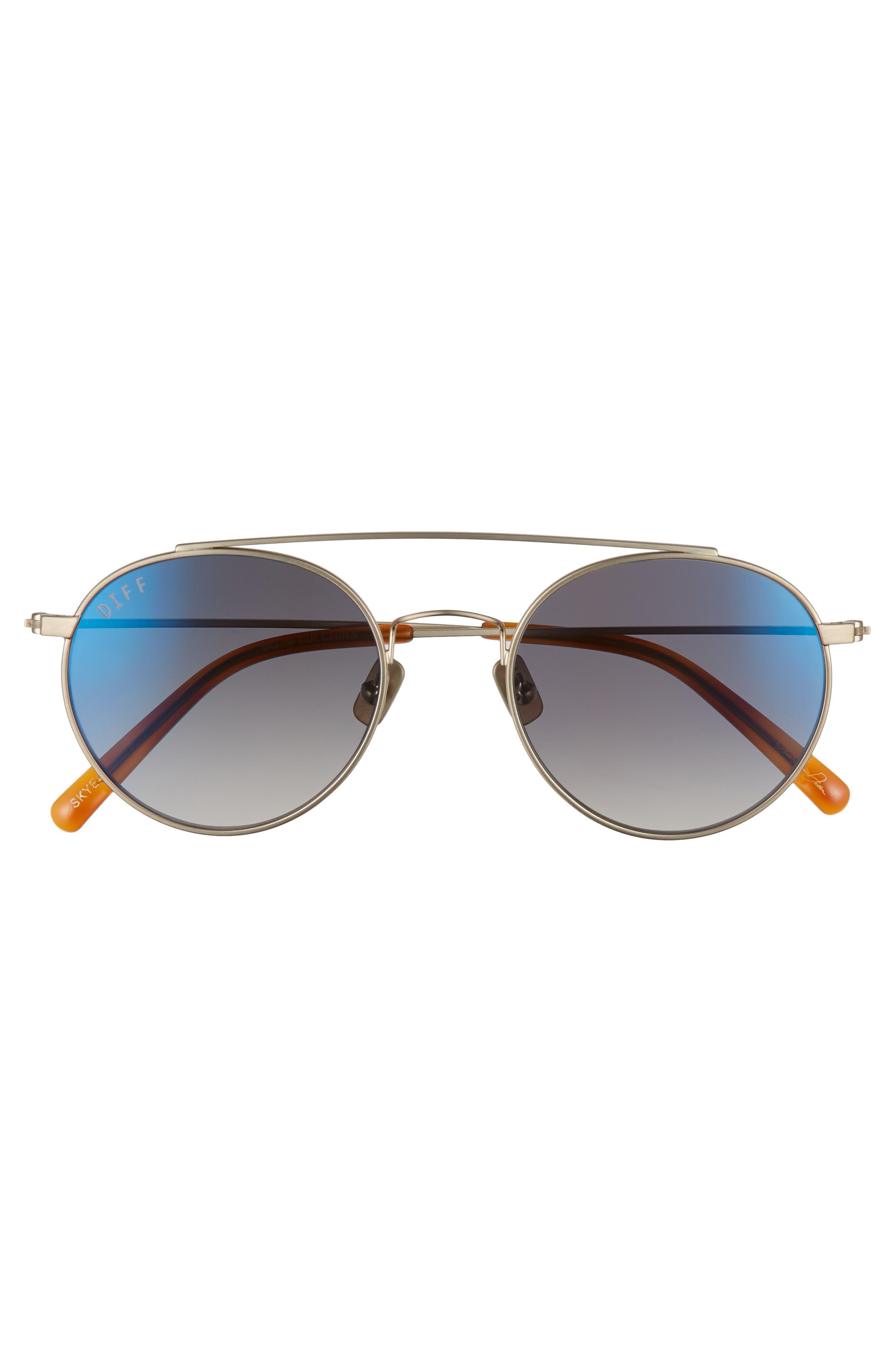 Skye 51mm Aviator Sunglasses,                             Alternate thumbnail 3, color,                             BRUSHED GOLD/ BLUE