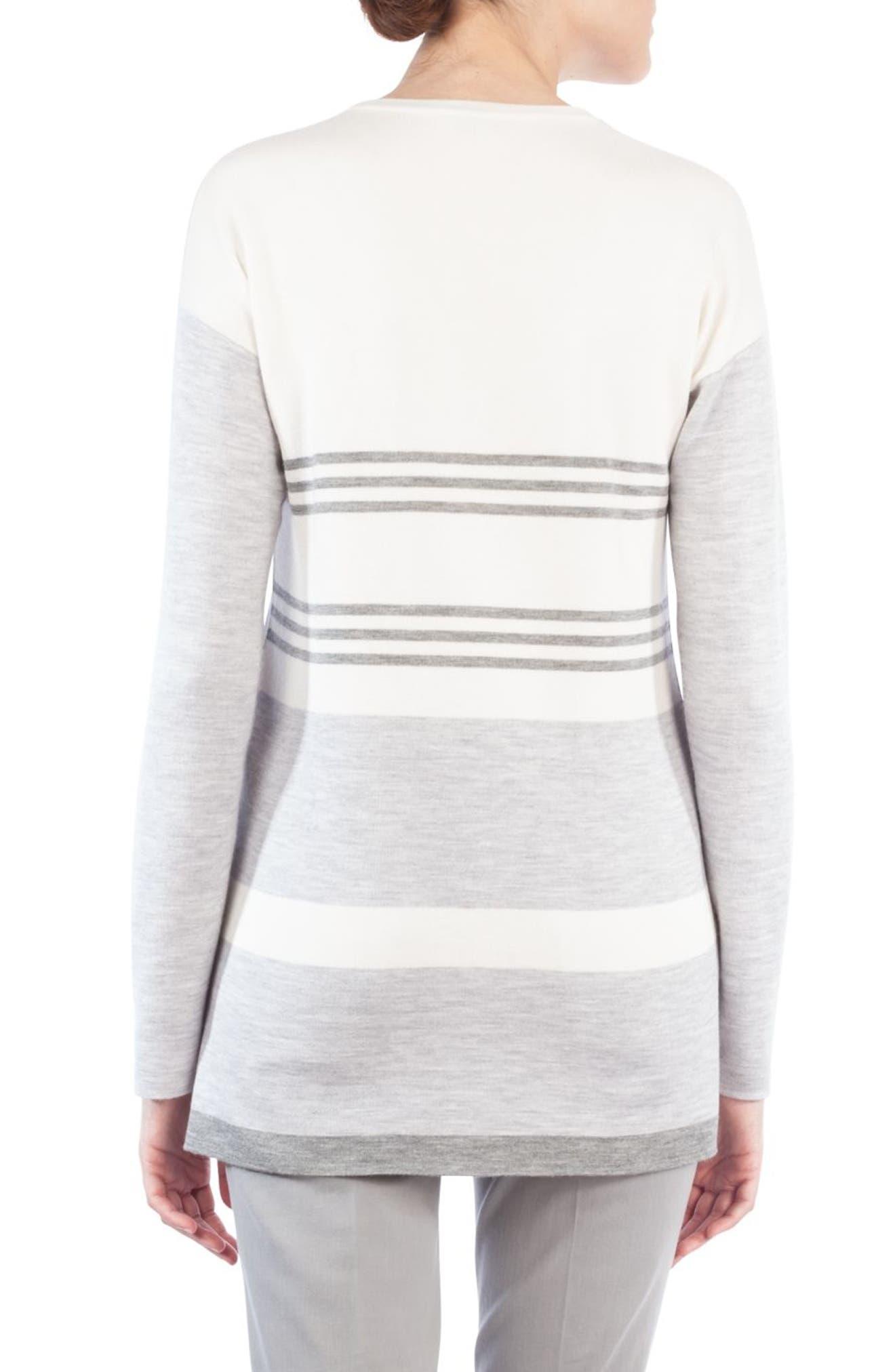 Wool & Silk Stripe Back Sweater,                             Alternate thumbnail 2, color,                             020