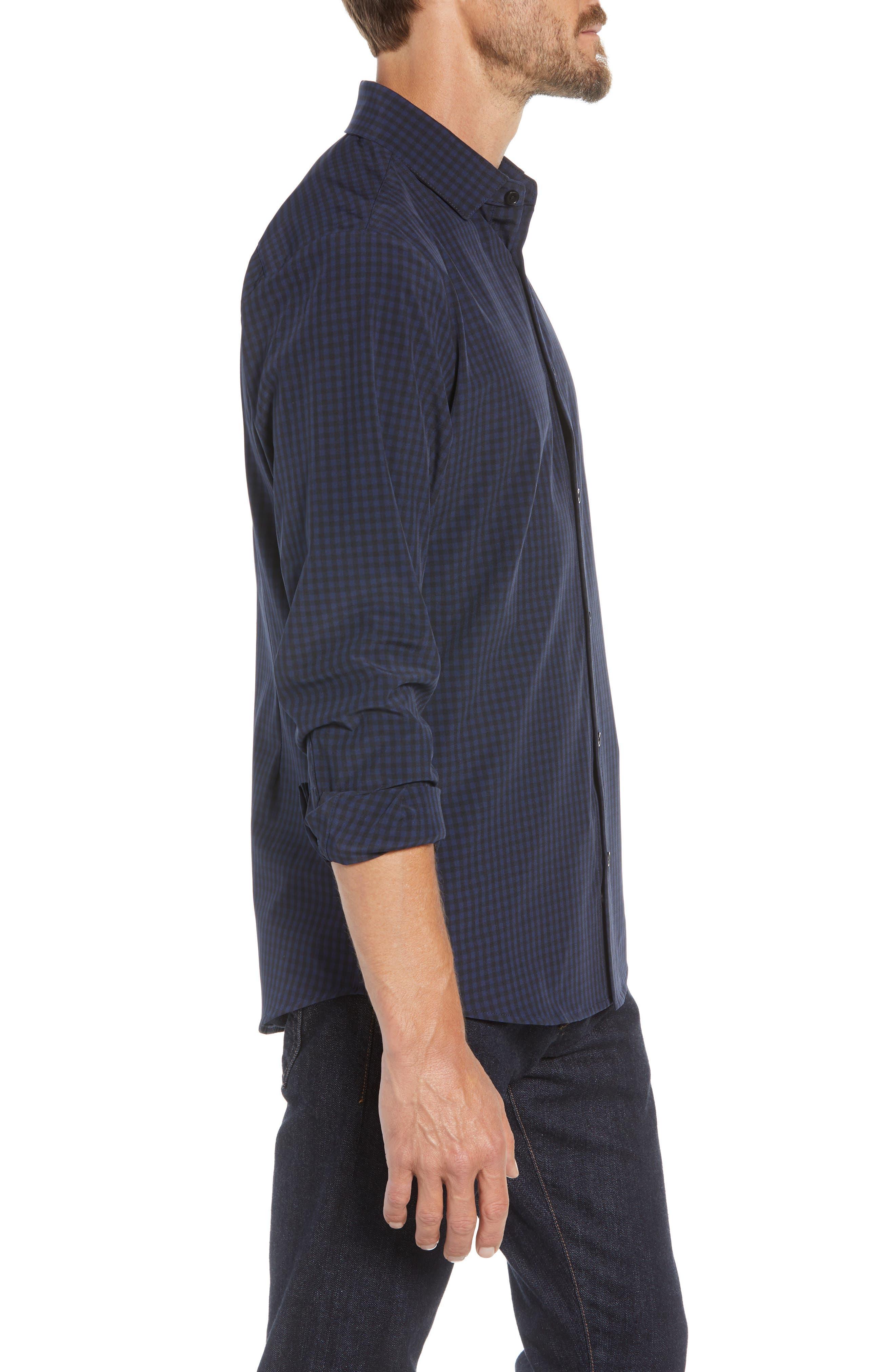 Burns Slim Fit Check Performance Sport Shirt,                             Alternate thumbnail 4, color,                             BLACK