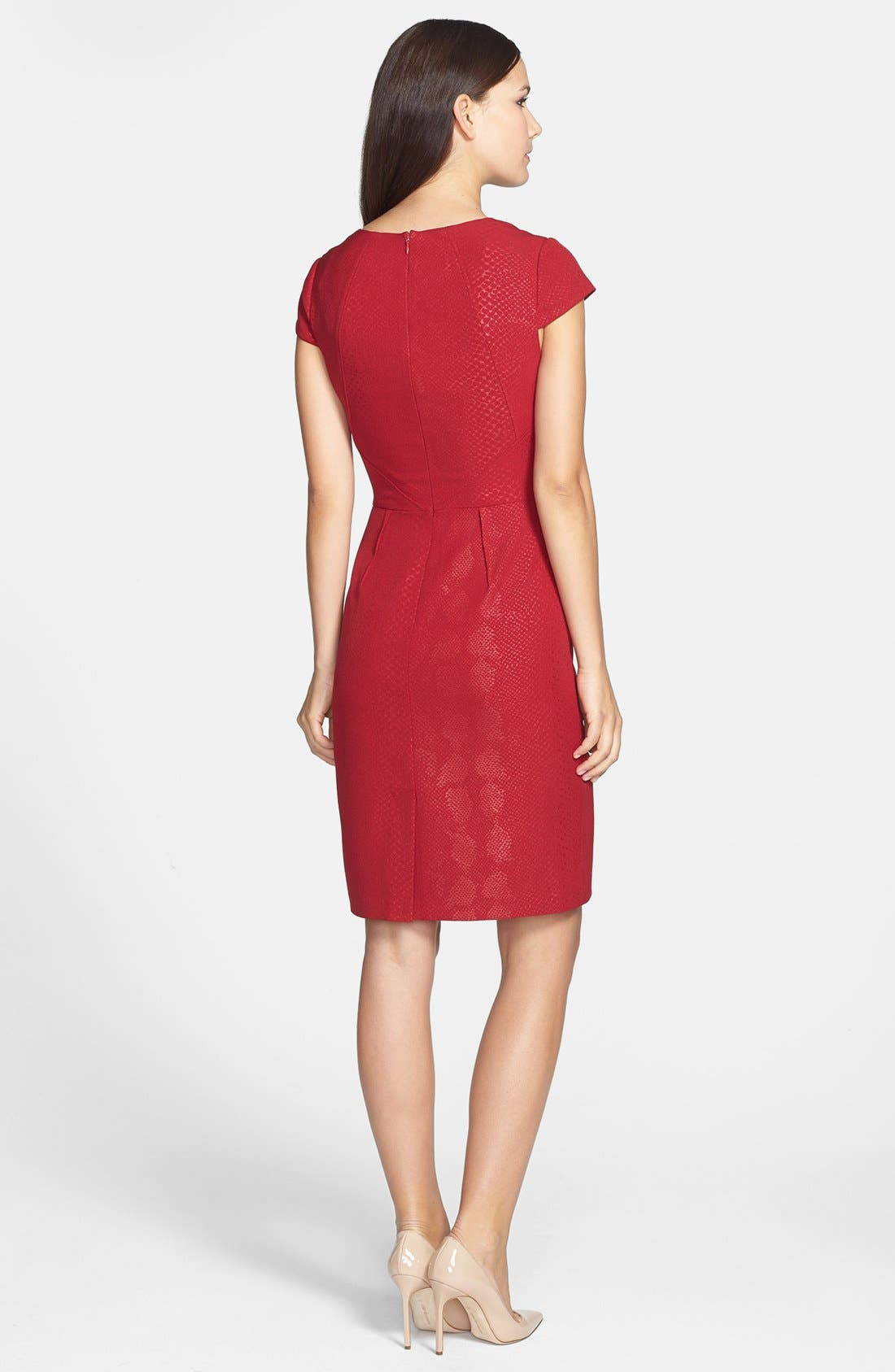 Snakeskin Embossed Crepe Sheath Dress,                             Alternate thumbnail 4, color,                             621