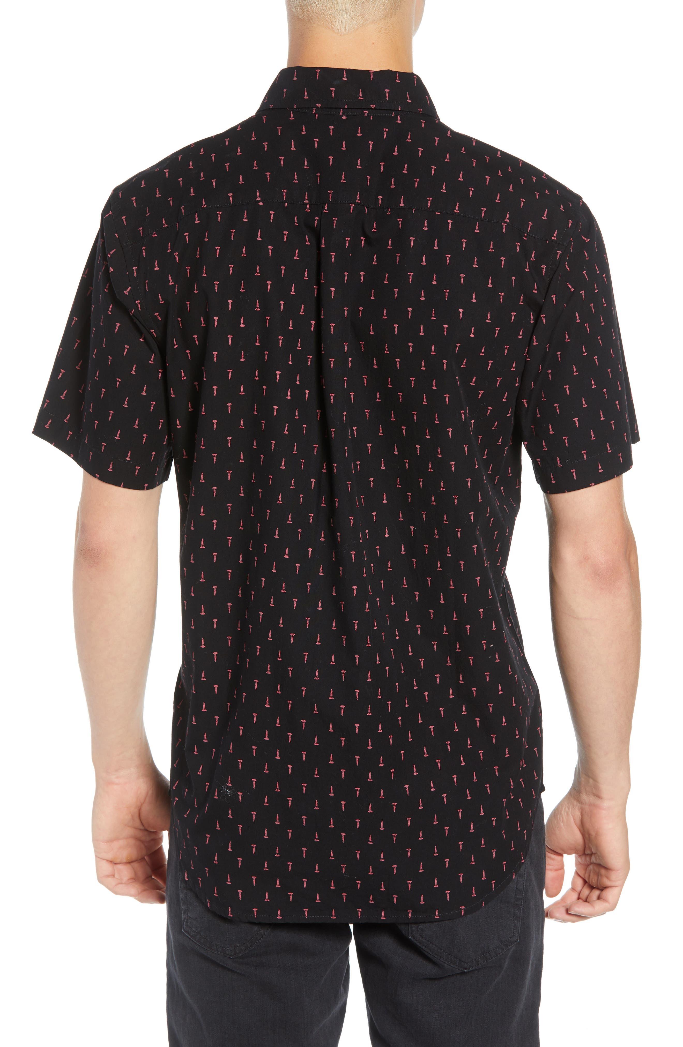 Screw Print Woven Shirt,                             Alternate thumbnail 3, color,                             BLACK MULTI