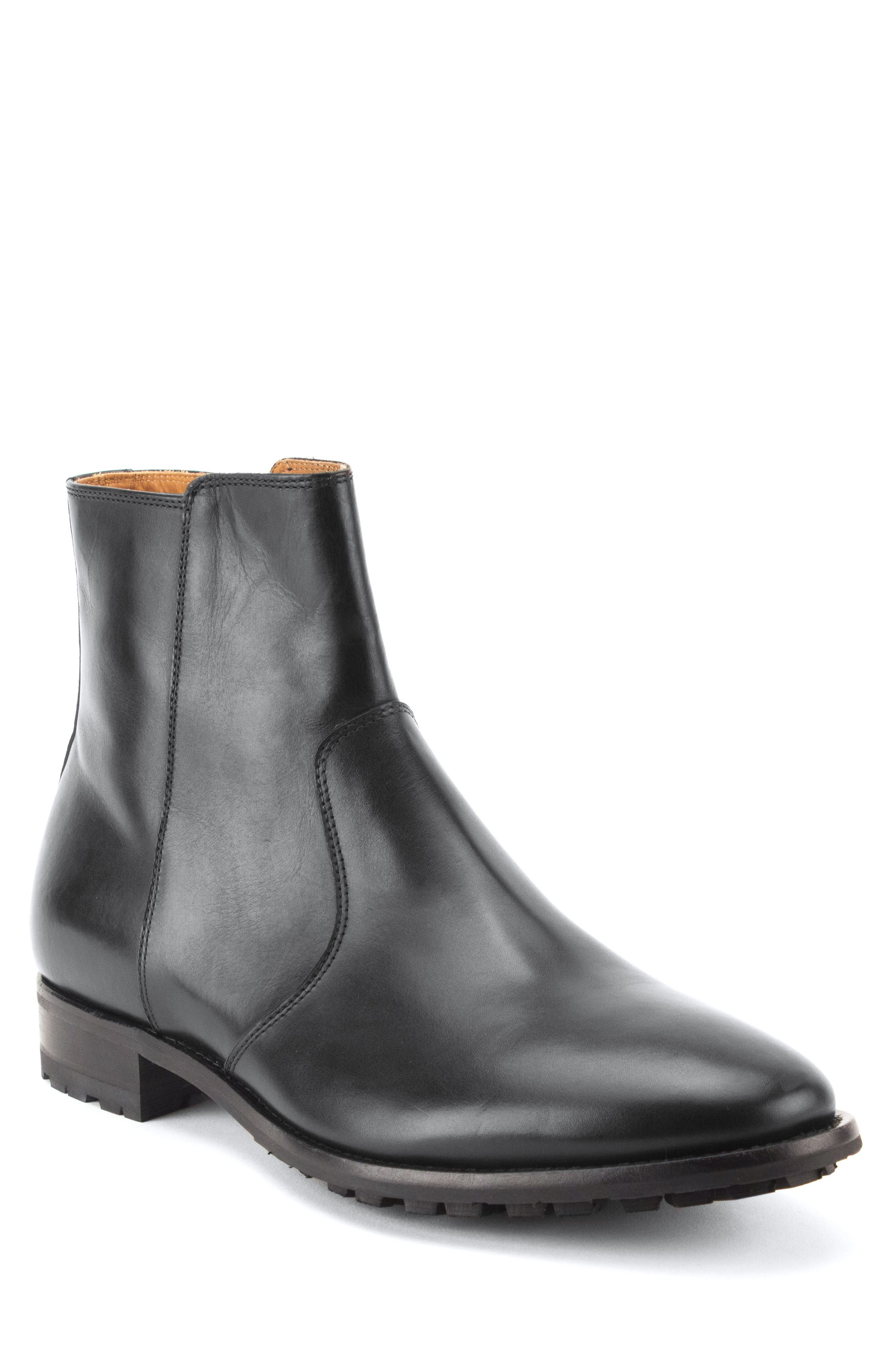Roberts Zip Boot,                         Main,                         color, BLACK LEATHER