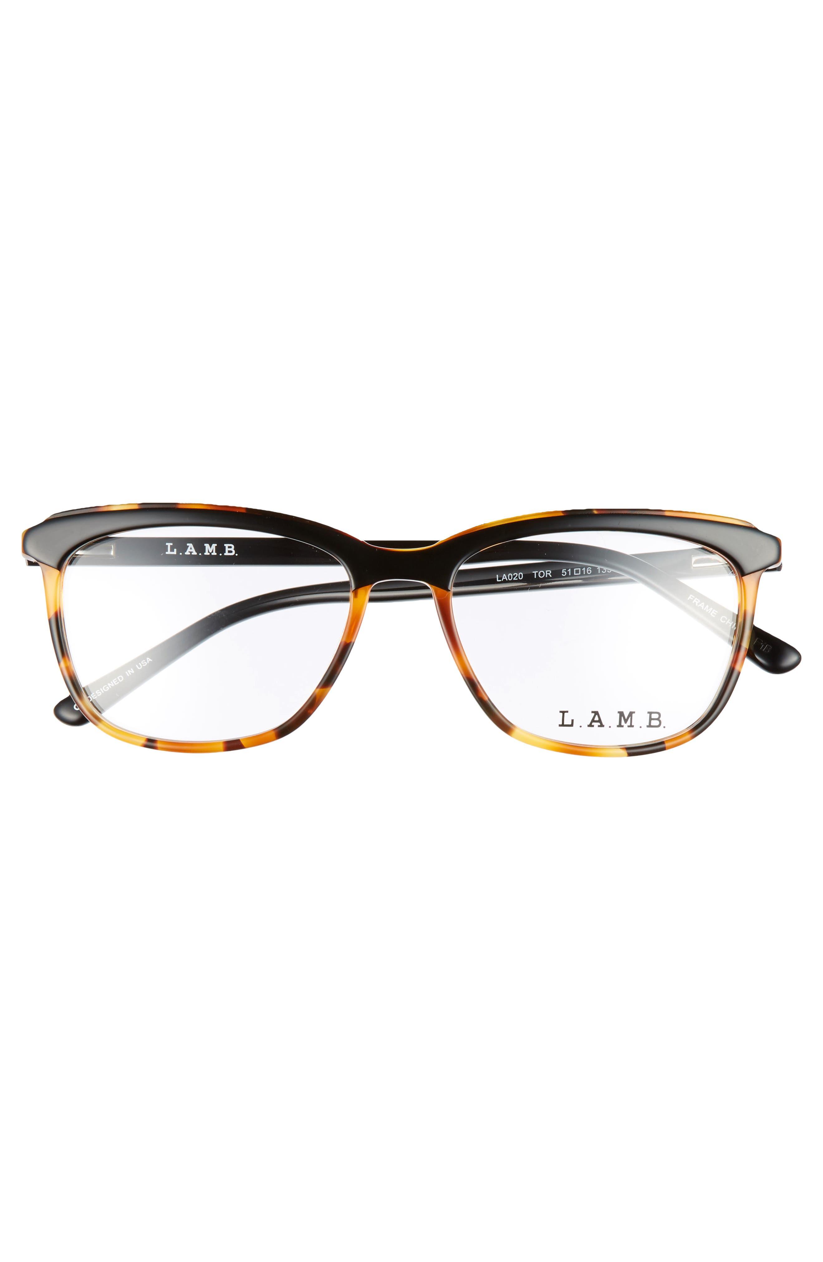 51mm Optical Square Glasses,                             Alternate thumbnail 3, color,                             001