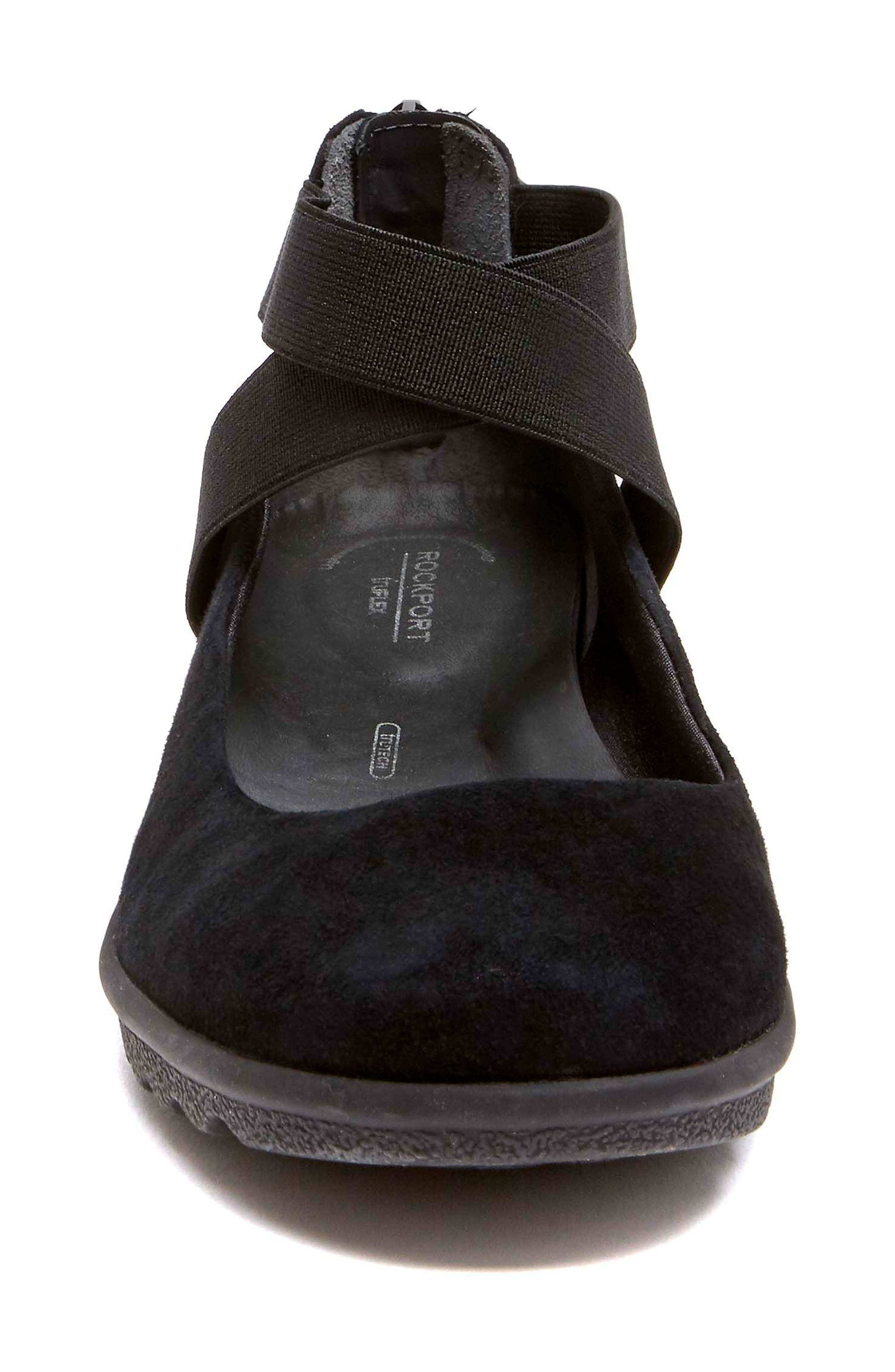 Chenole Cross Strap Flat,                             Alternate thumbnail 4, color,                             BLACK SUEDE