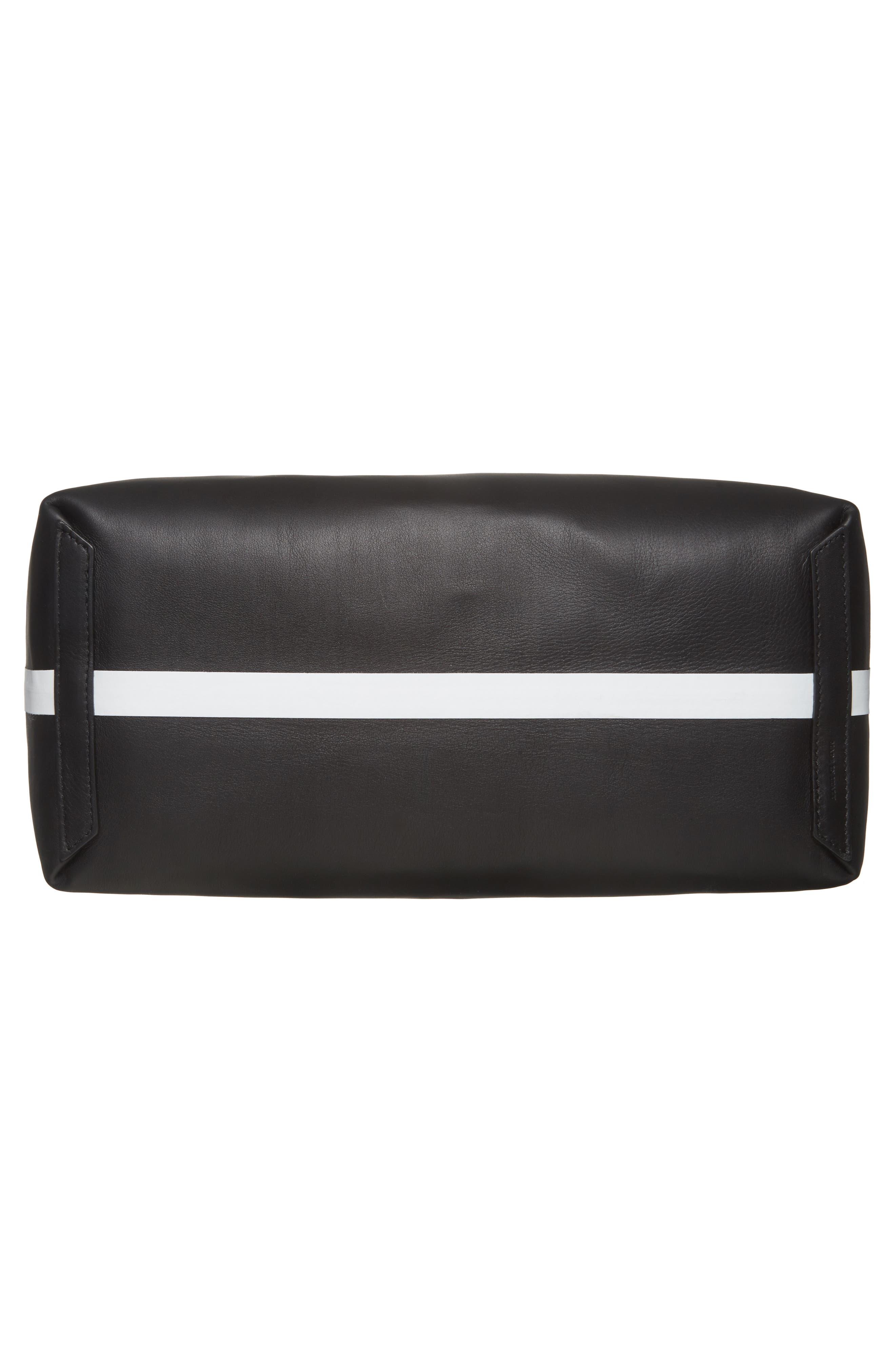 Medium Reversible Leather & Check Canvas Tote,                             Alternate thumbnail 7, color,                             BLACK/ WHITE