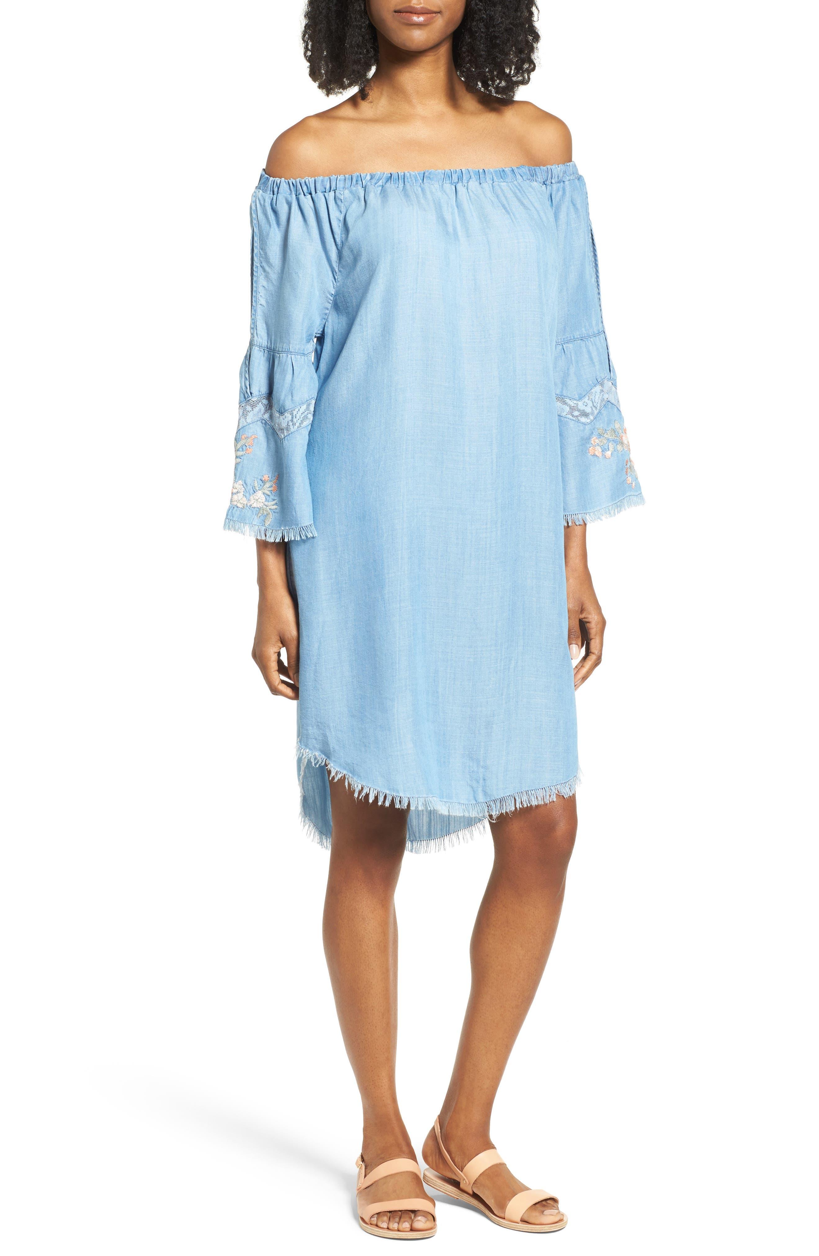 Off the Shoulder Denim Dress,                         Main,                         color, 400
