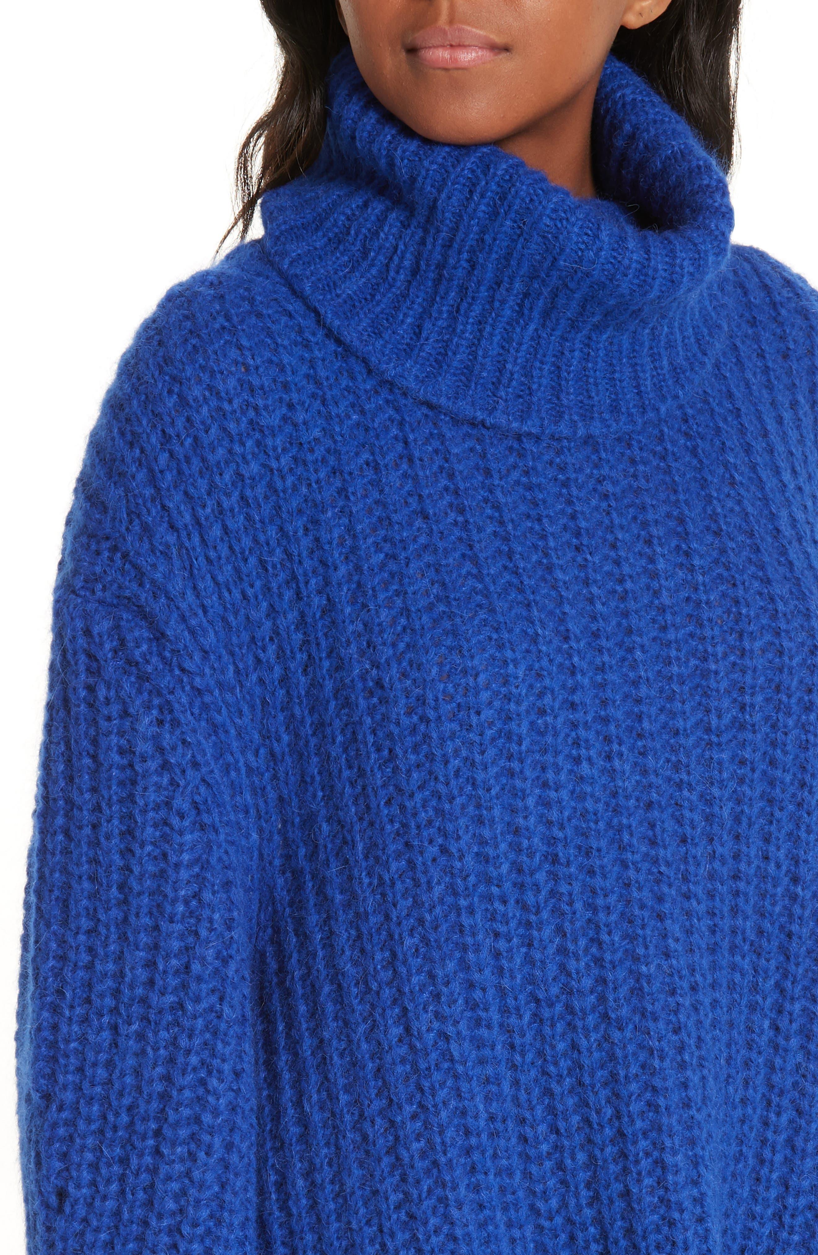 Emera Turtleneck Sweater,                             Alternate thumbnail 4, color,                             BLUE