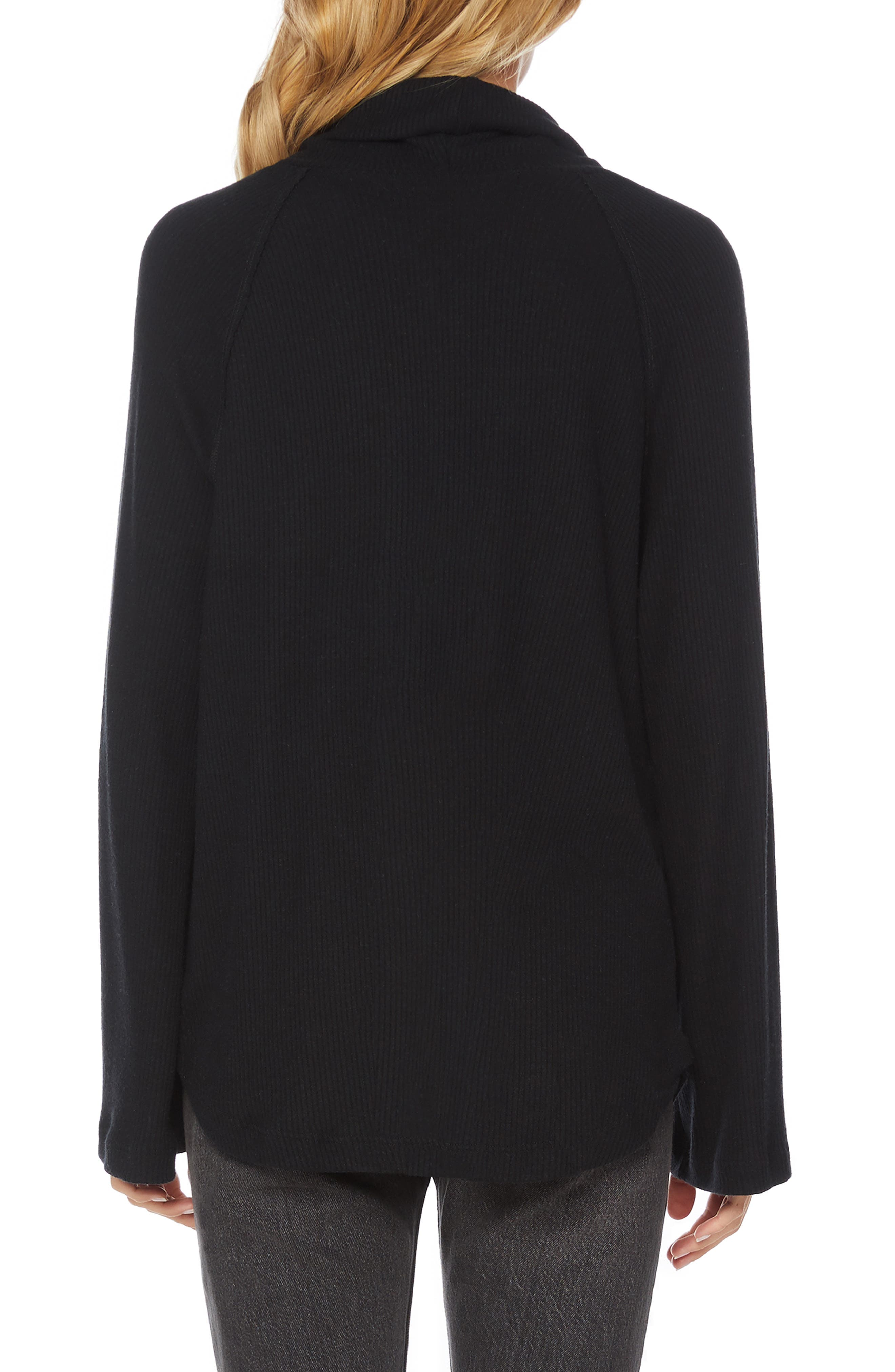 Ribbed Turtleneck Top,                             Alternate thumbnail 2, color,                             001