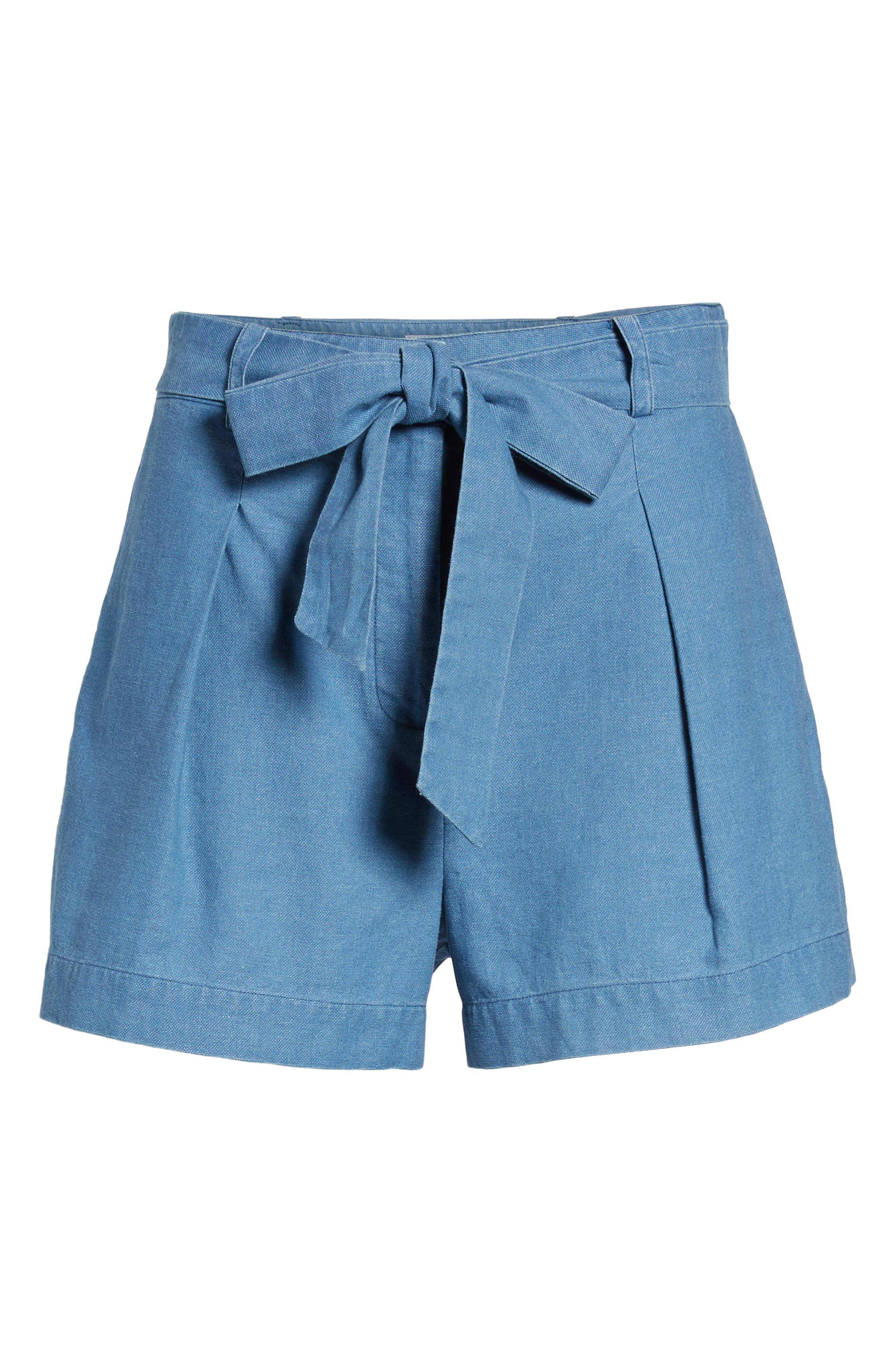 Tie Front Chambray Shorts,                             Alternate thumbnail 6, color,                             400