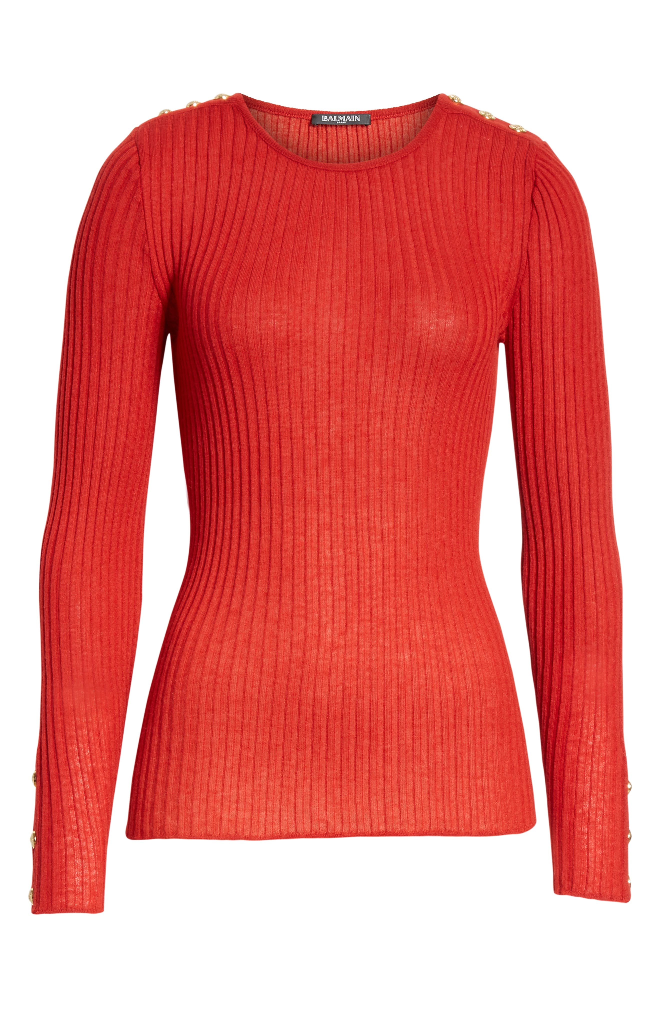 Button Detail Ribbed Sweater,                             Alternate thumbnail 6, color,                             ROUGE