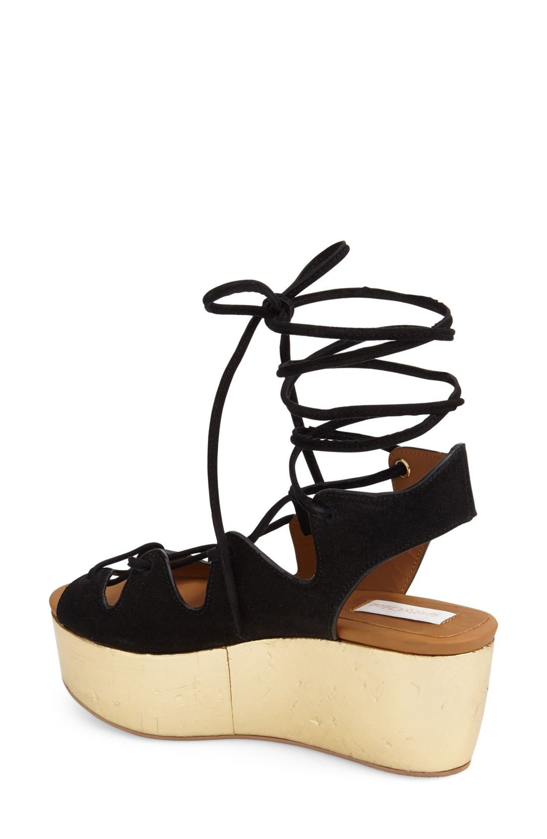 'Liana' Platform Wedge Sandal,                             Alternate thumbnail 4, color,                             001
