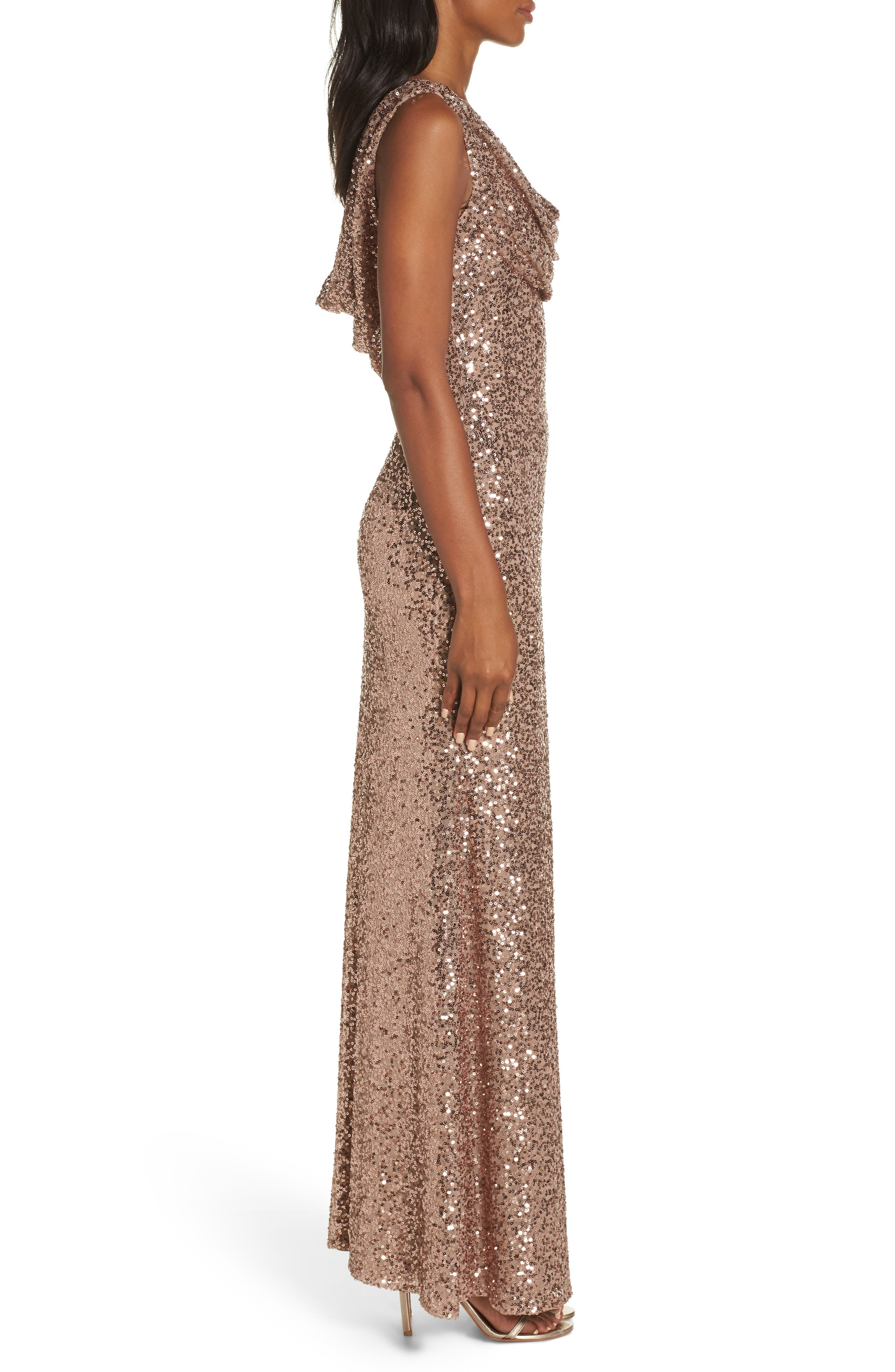 Cowl Neck Sequin Gown,                             Alternate thumbnail 3, color,                             ROSE GOLD