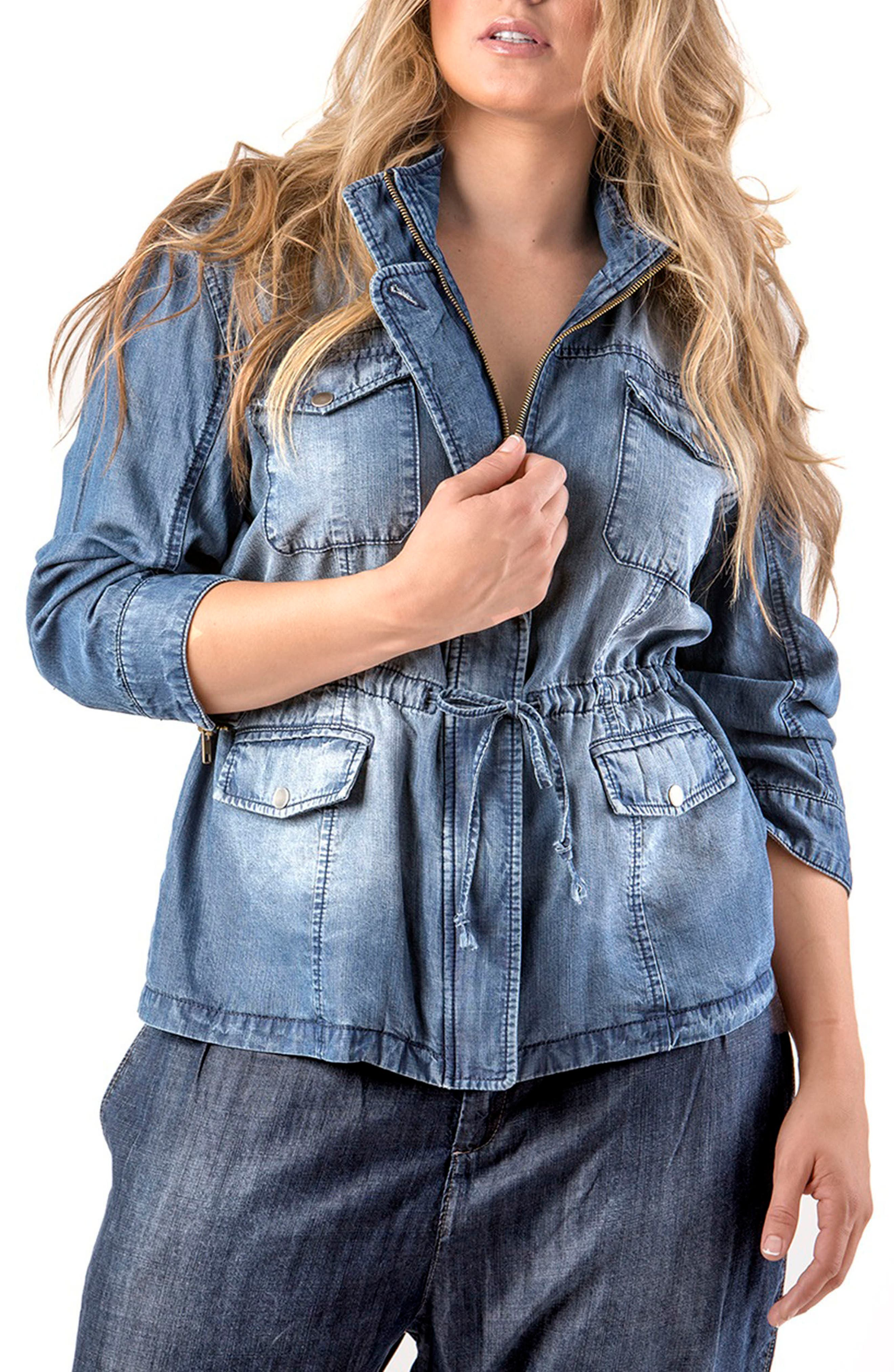 Abby Zip Front Hooded Denim Jacket,                             Main thumbnail 1, color,                             BLUE