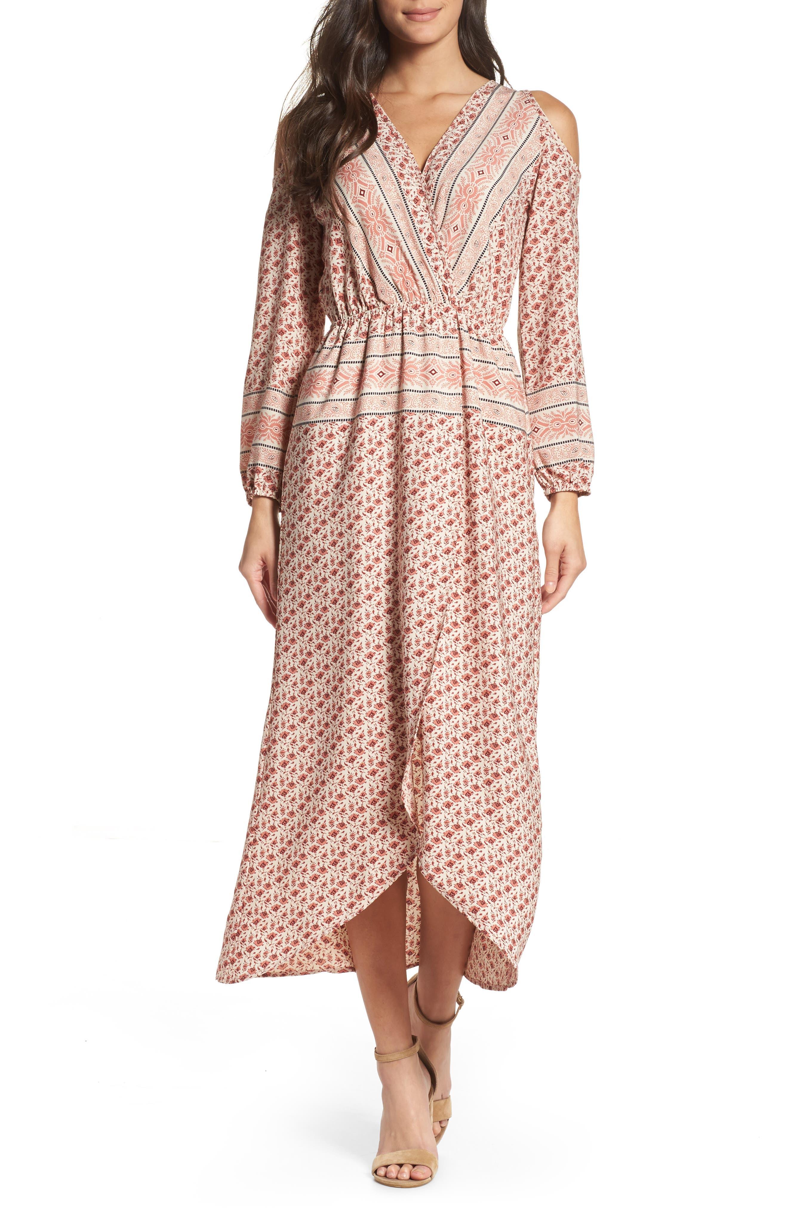 Cold Shoulder Midi Dress,                             Main thumbnail 1, color,                             MADISON