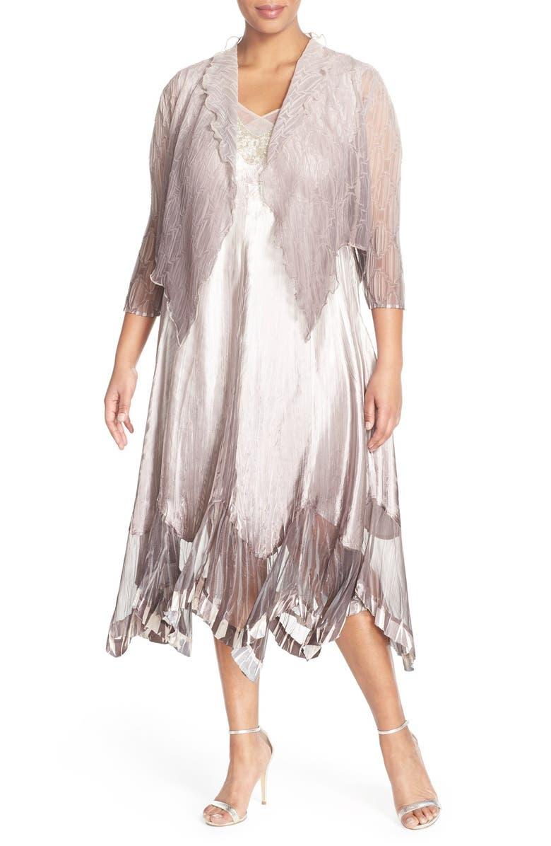 e4b7a23d424 Komarov Embellished V-Neck Chiffon   Charmeuse Dress with Jacket ...