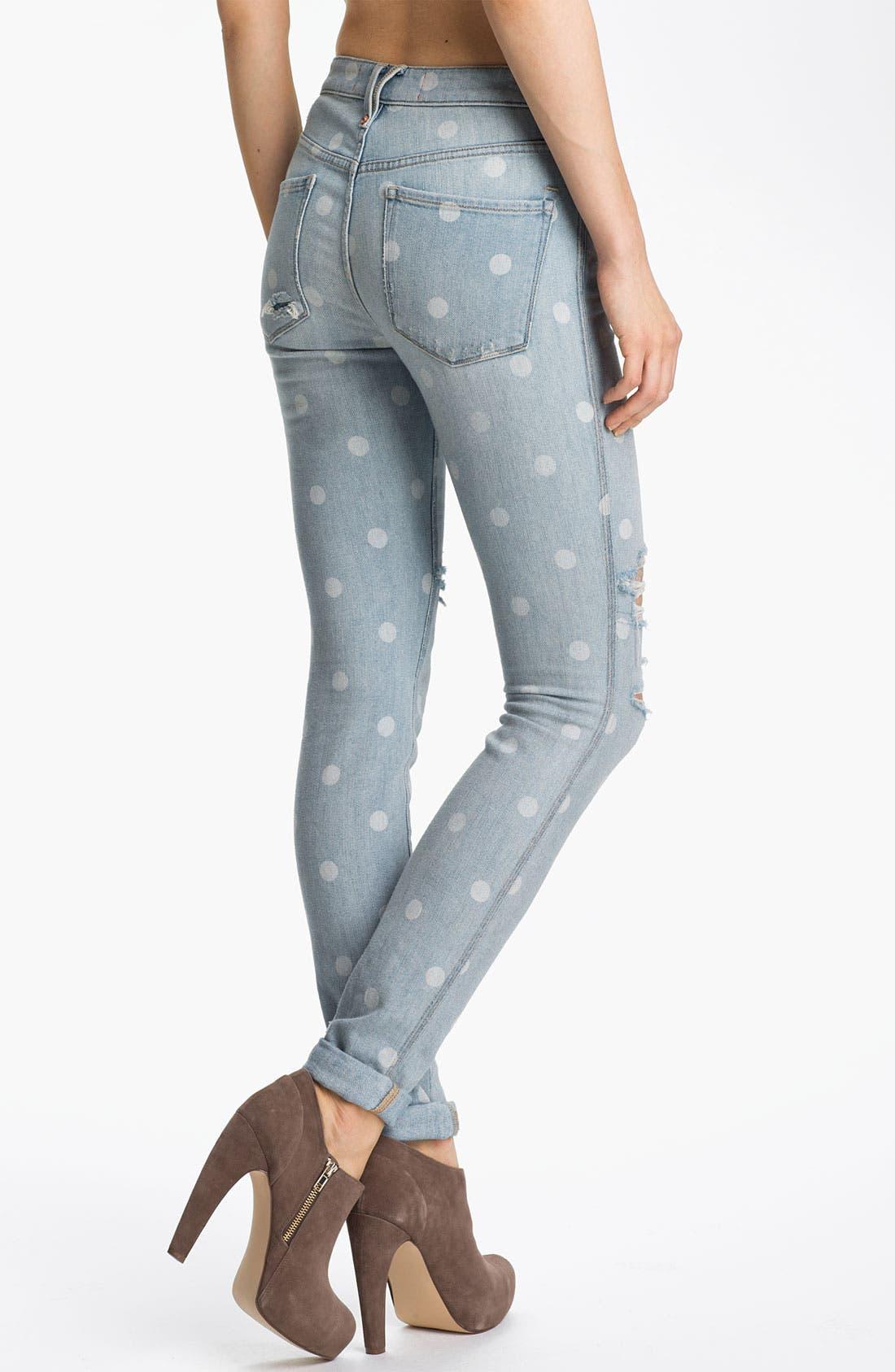 Distressed Print Skinny Jeans,                             Alternate thumbnail 3, color,                             400