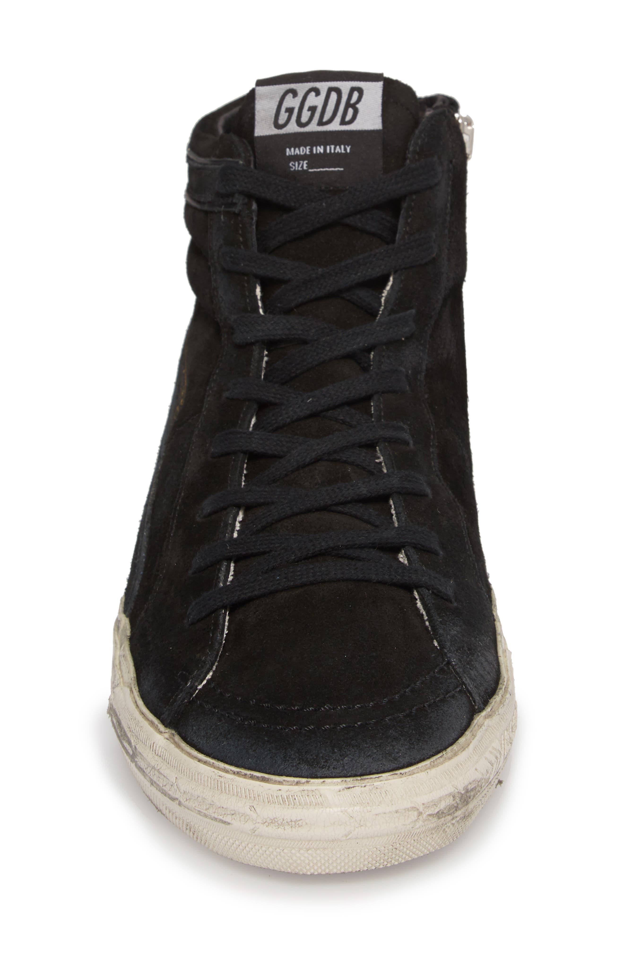 'Slide' Sneaker,                             Alternate thumbnail 4, color,                             BLACK SUEDE