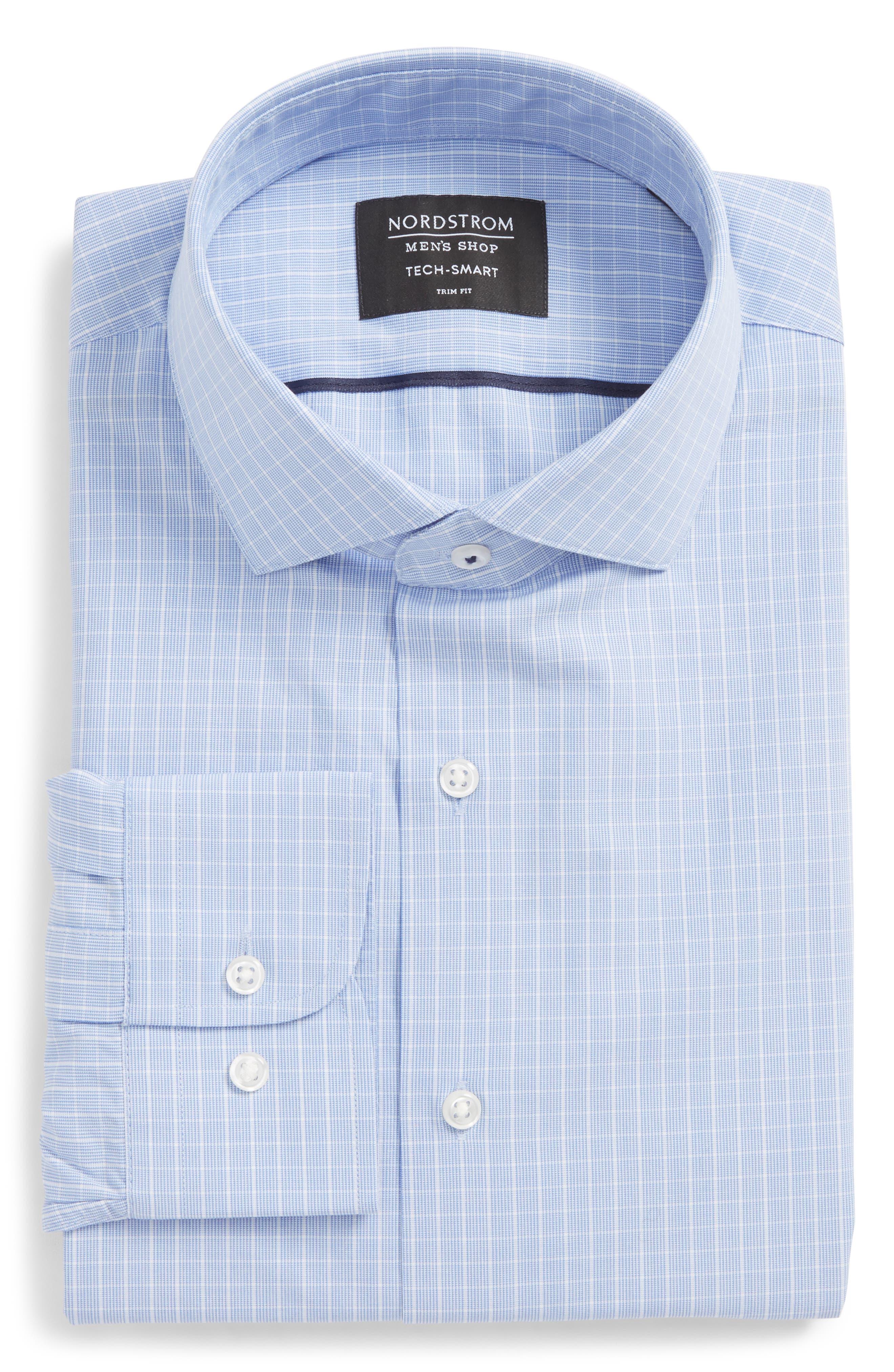 Tech-Smart Trim Fit Stretch Grid Dress Shirt,                             Alternate thumbnail 5, color,                             450