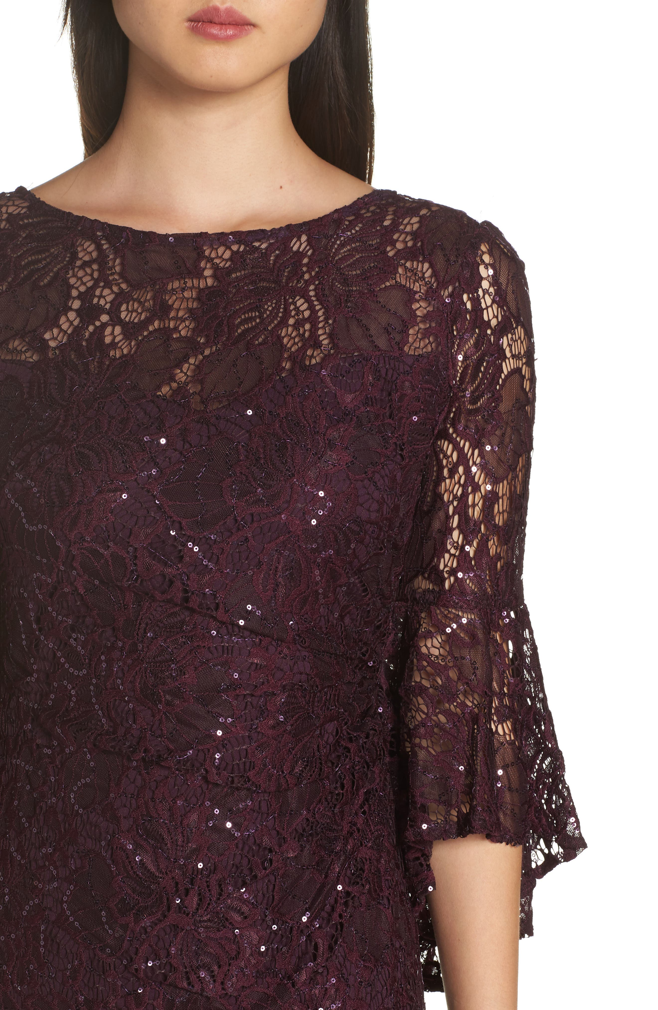 Sequin Embellished Gown,                             Alternate thumbnail 4, color,                             MULBERRY