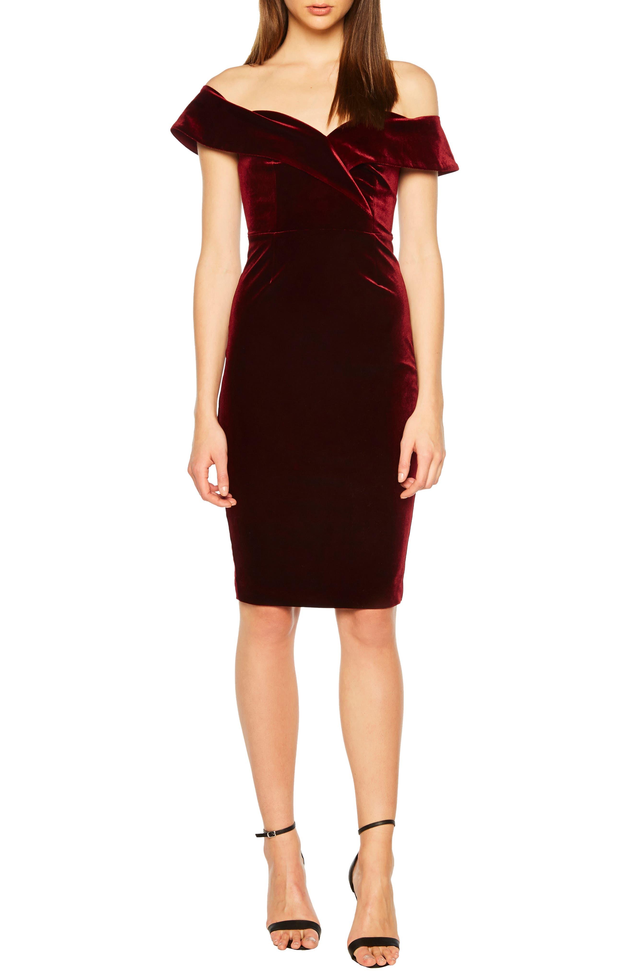 Bella Off the Shoulder Velvet Dress, Main, color, CABERNET