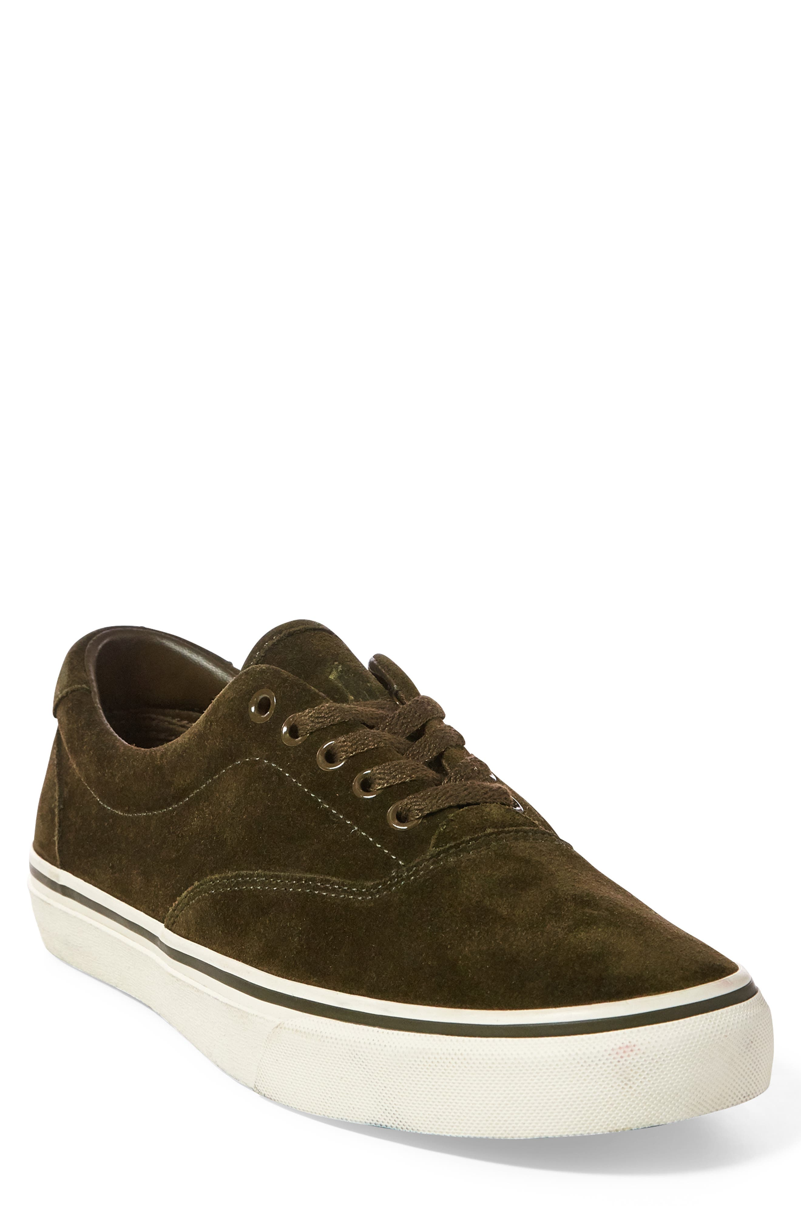 Thorton Sneaker,                         Main,                         color, DEEP OLIVE SUEDE