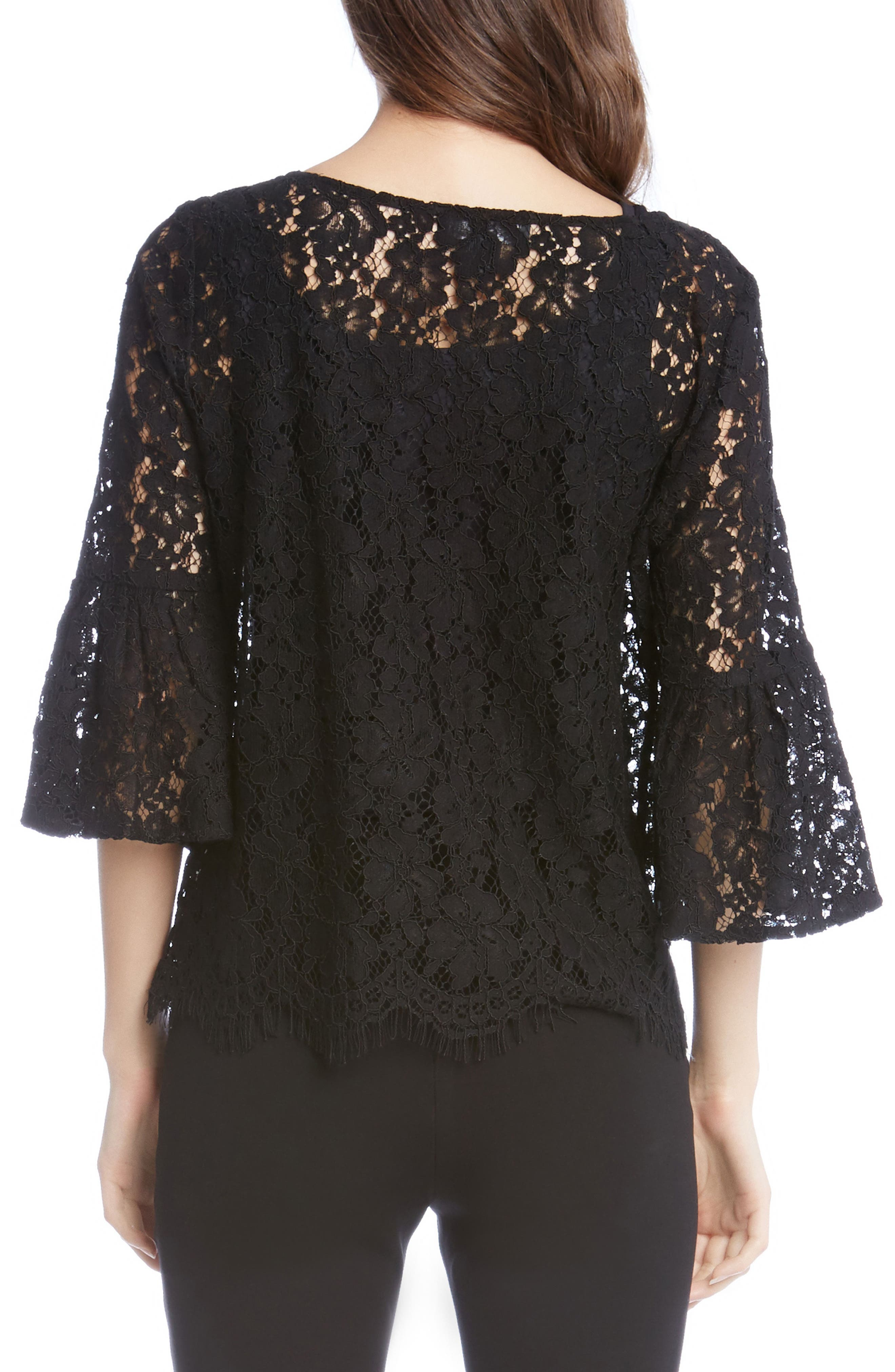 Lace Embellished Bell Sleeve Top,                             Alternate thumbnail 3, color,