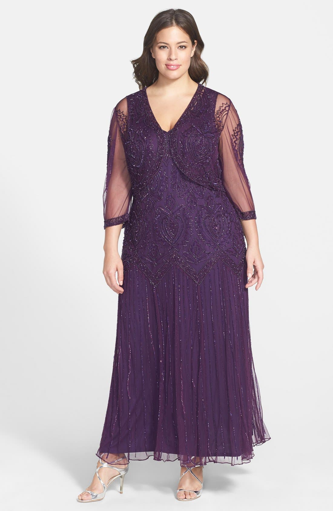 Beaded V-Neck Gown & Jacket,                             Main thumbnail 5, color,