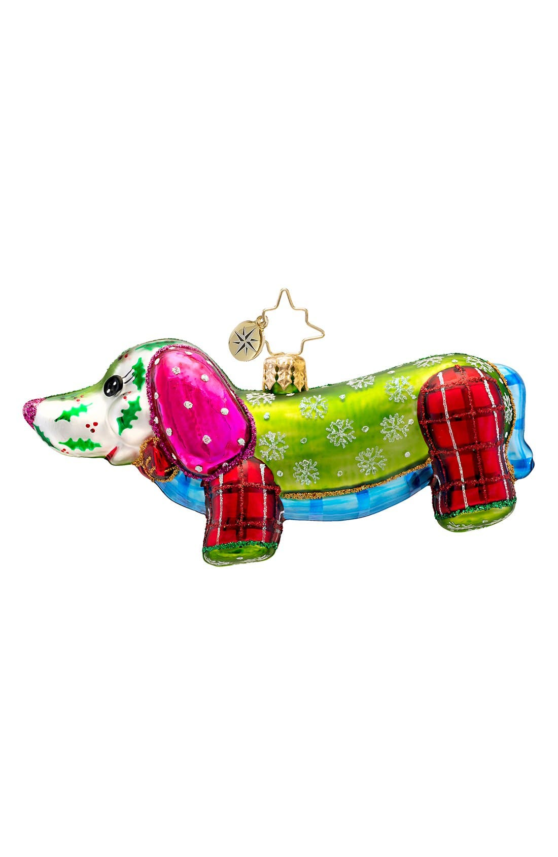 'Patchwork Winnie' Handcrafted Glass Dachshund Ornament, Main, color, 300