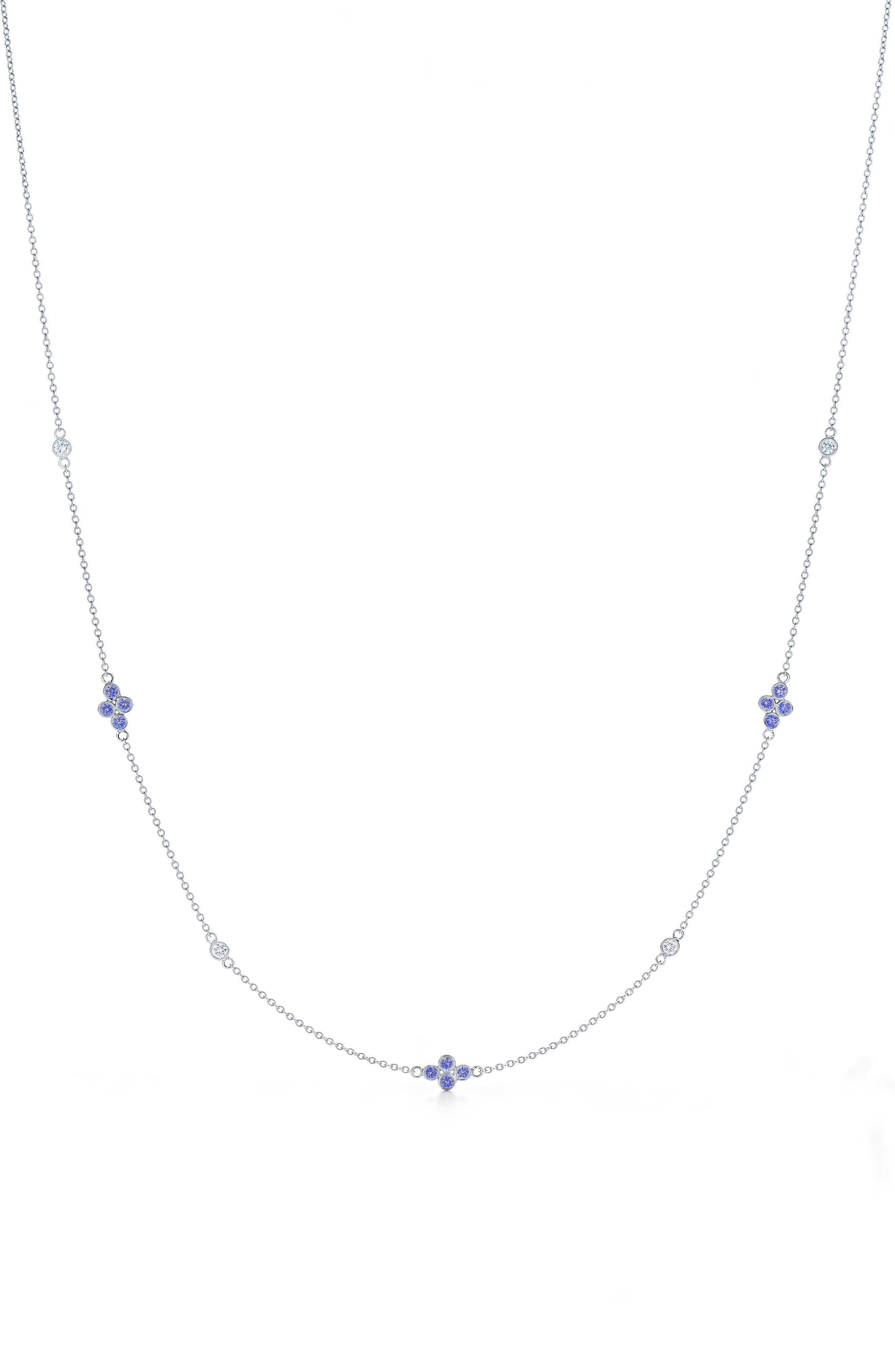 Diamond Strings Diamond & Sapphire Station Necklace, Main, color, WHITE GOLD