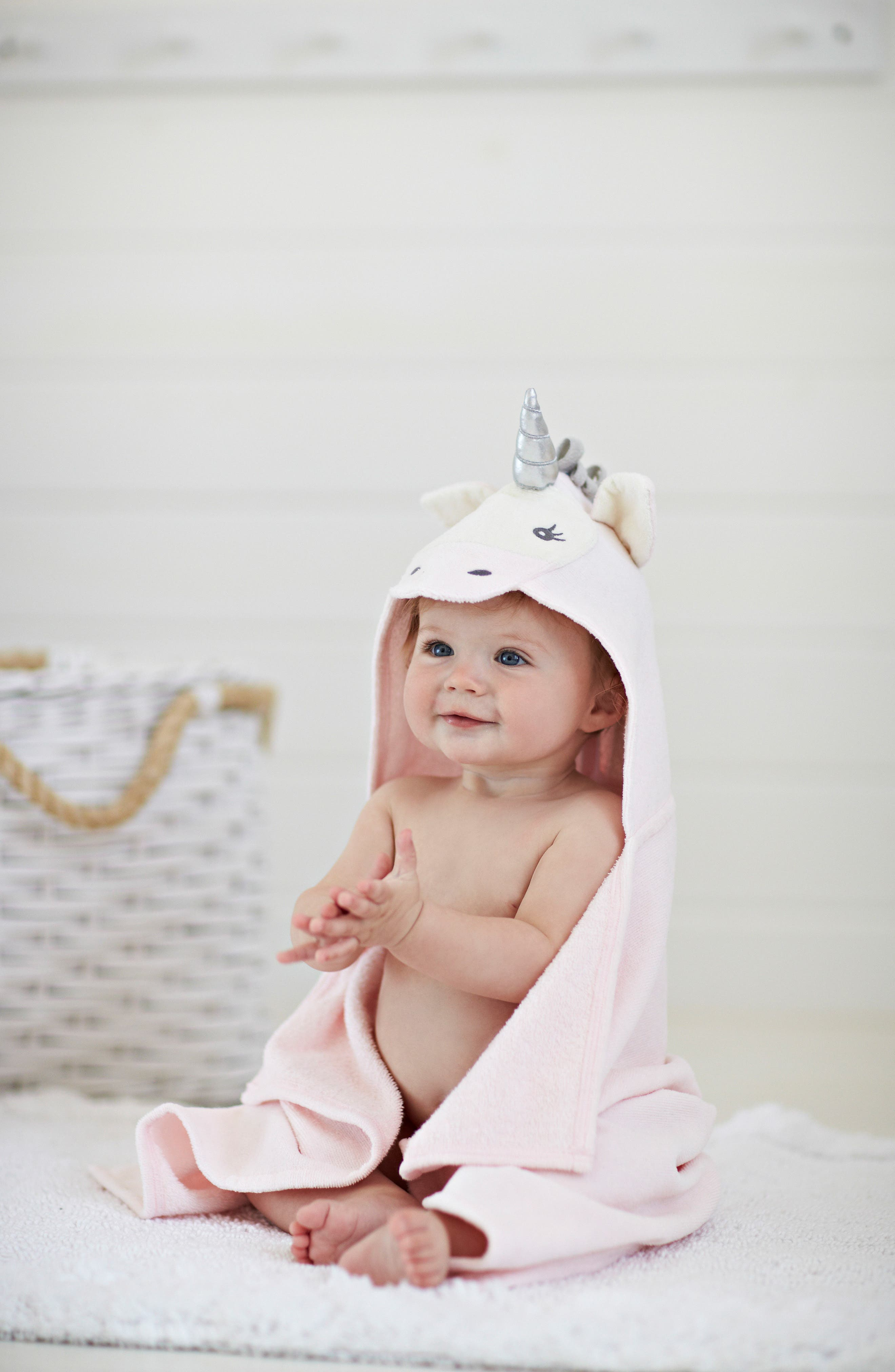 Terry Velour Hooded Unicorn Towel,                             Alternate thumbnail 4, color,                             UNICORN