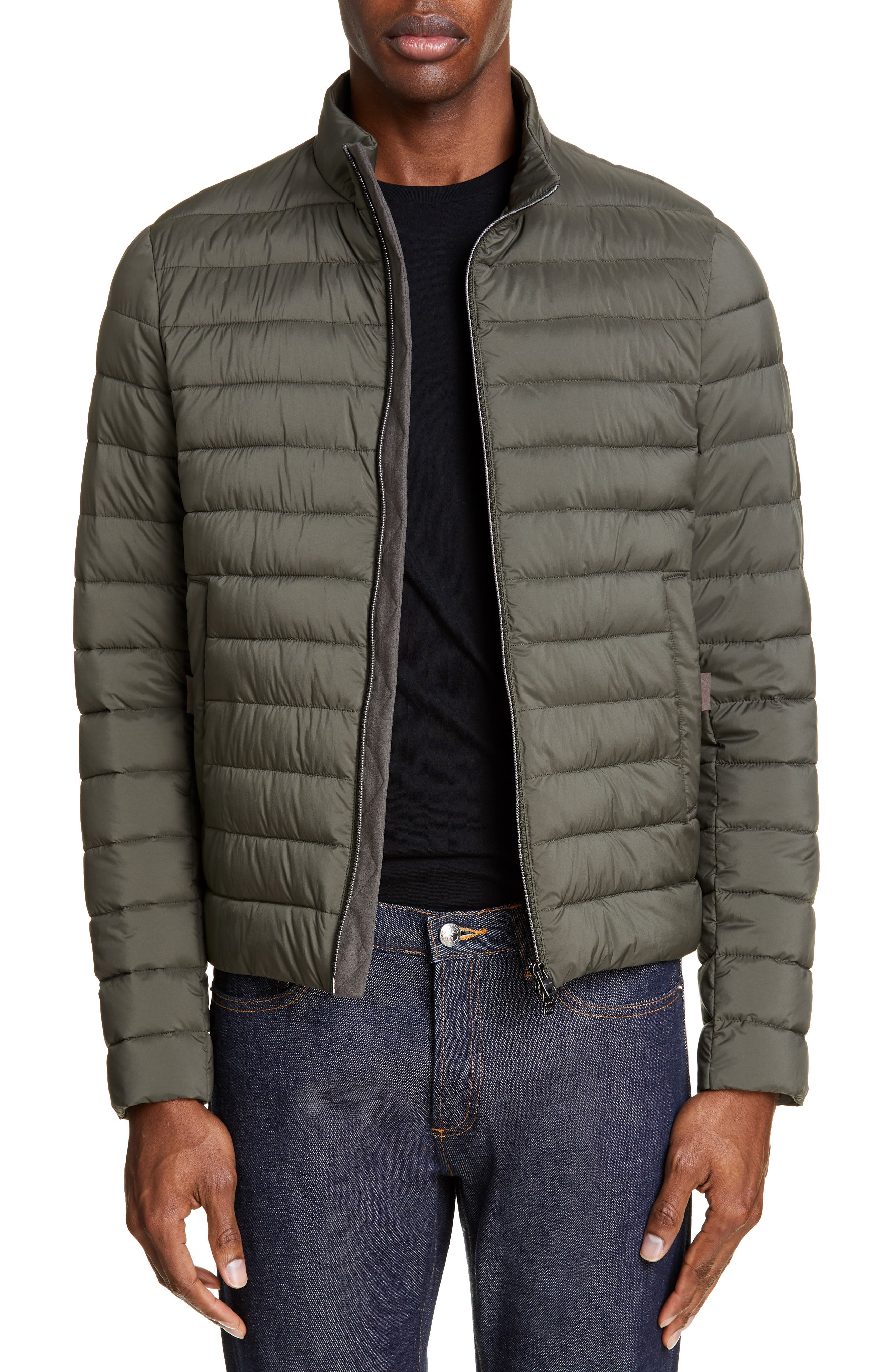 Herno Suede Trim Puffer Jacket, Green