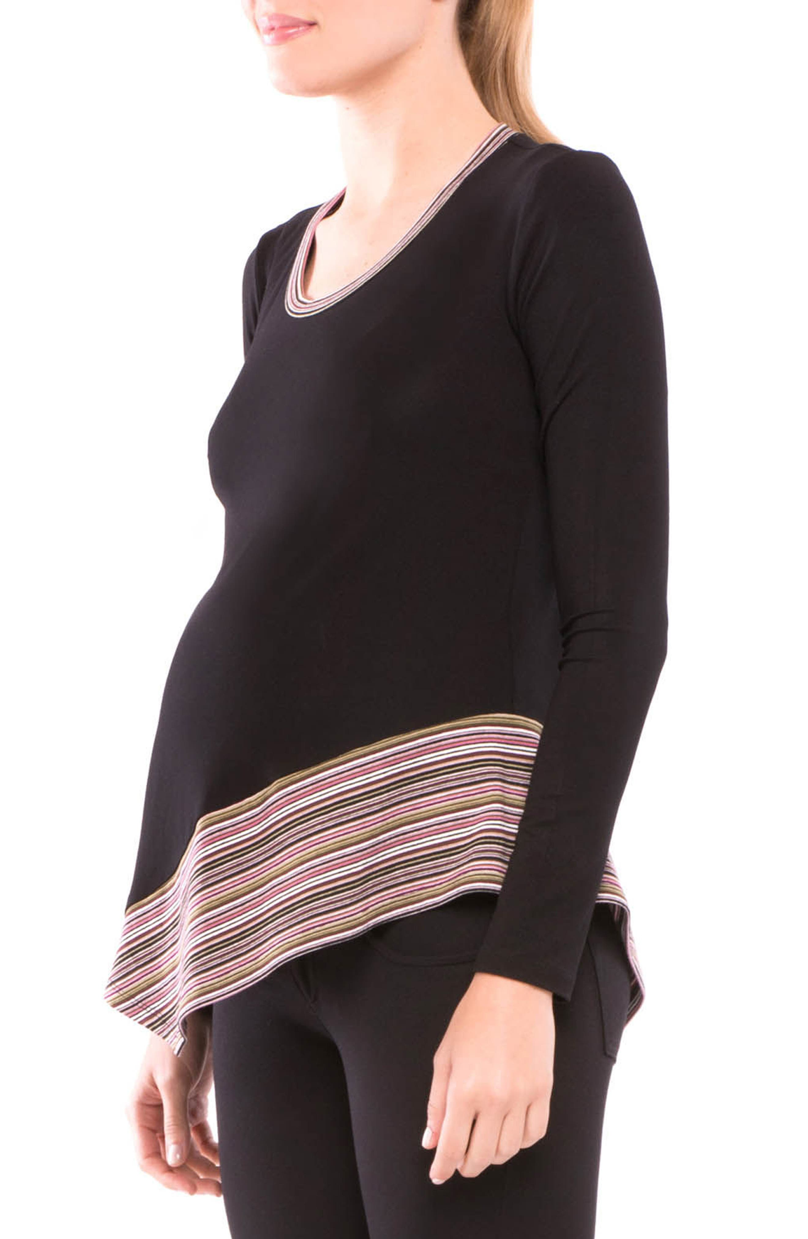 Audrey Asymmetrical Maternity Top,                             Alternate thumbnail 3, color,                             001