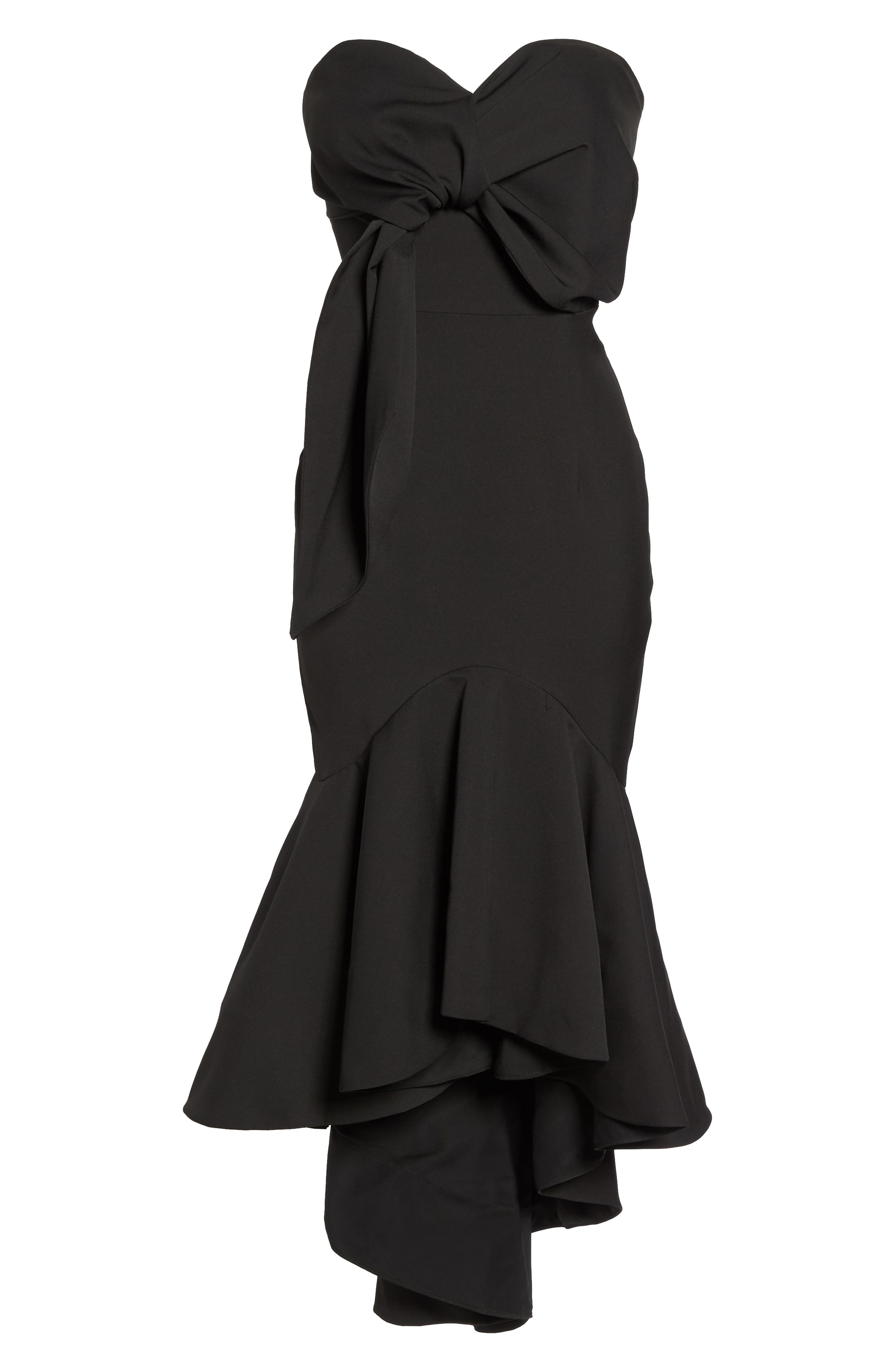 Freda Knotted Strapless Mermaid Gown,                             Alternate thumbnail 6, color,                             BLACK