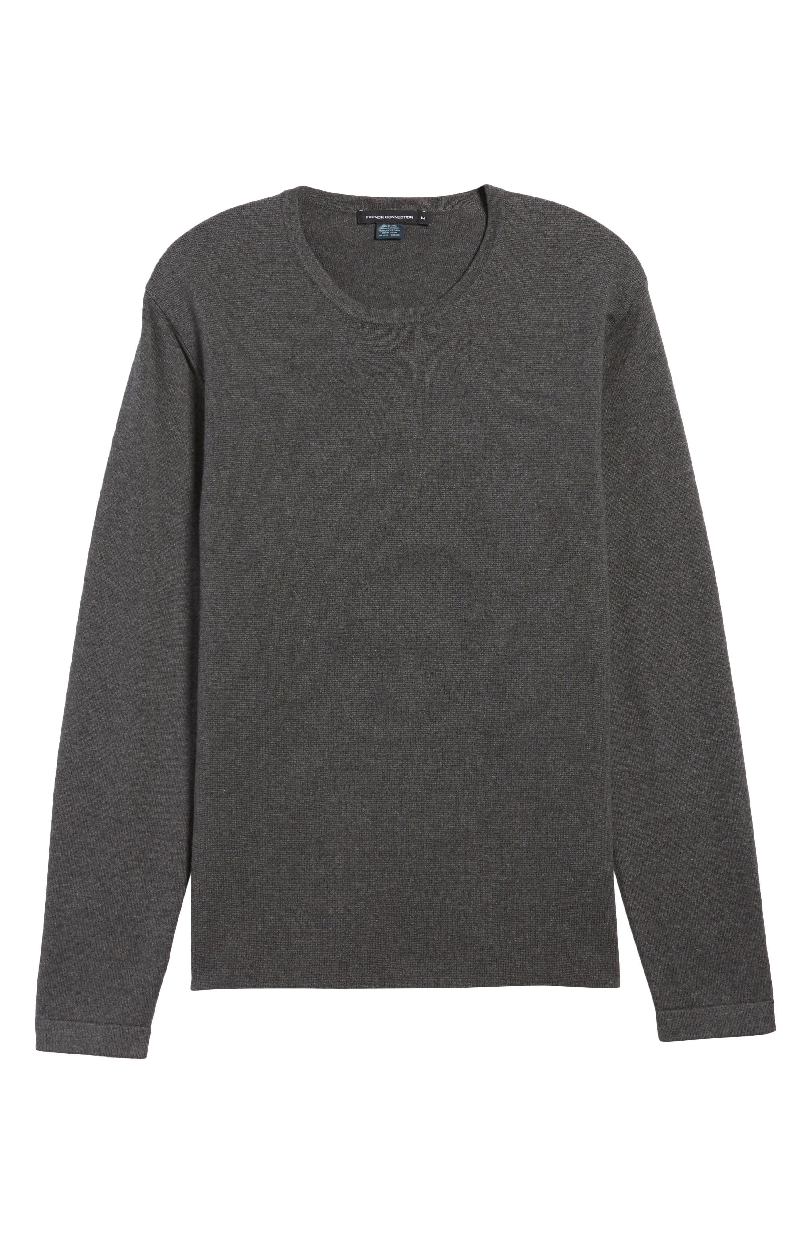 Milano Front Regular Fit Cotton Sweater,                             Alternate thumbnail 6, color,                             CHARCOAL MELANGE