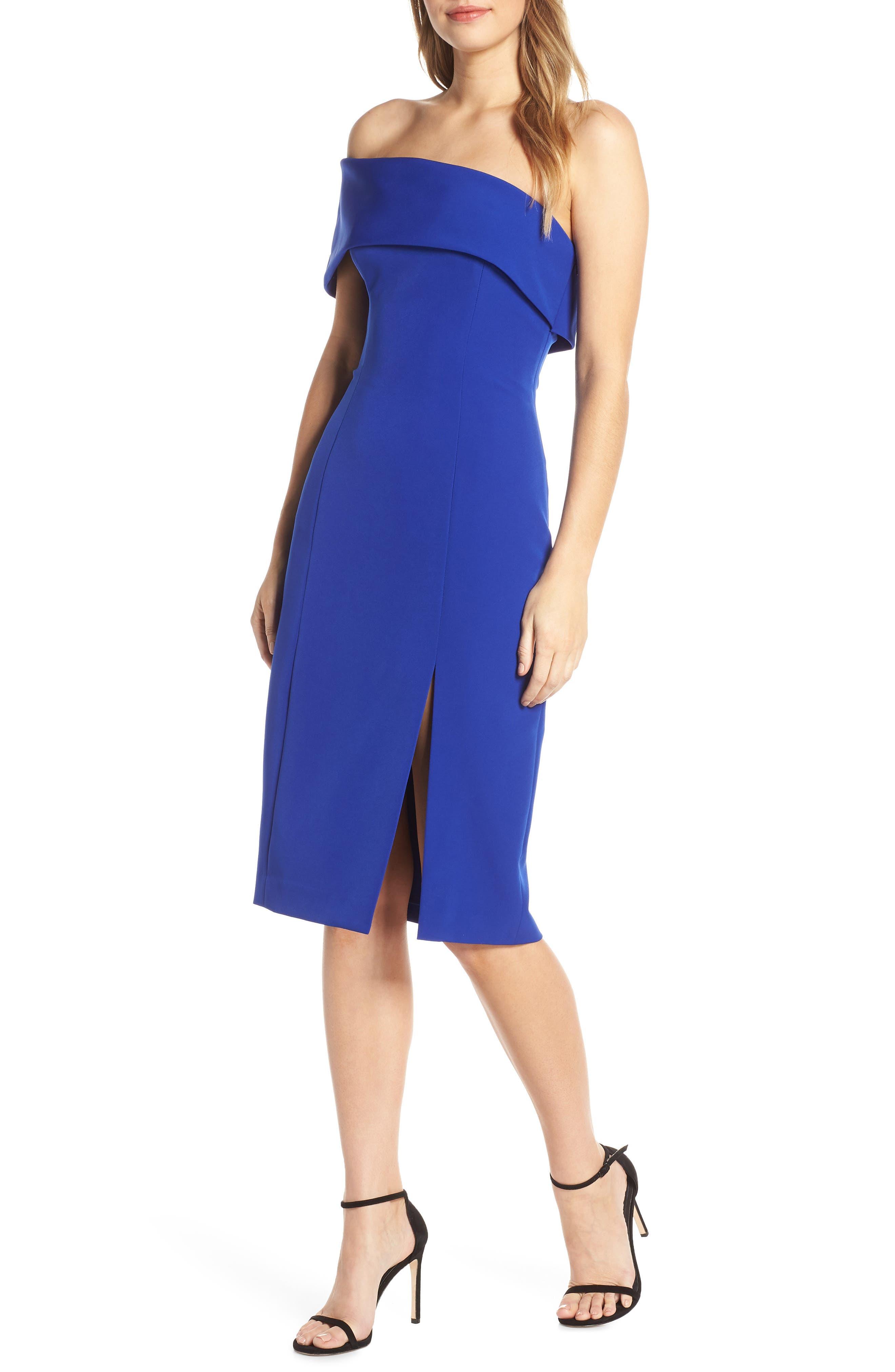 Eliza J Off The Shoulder Scuba Crepe Cocktail Dress, Blue