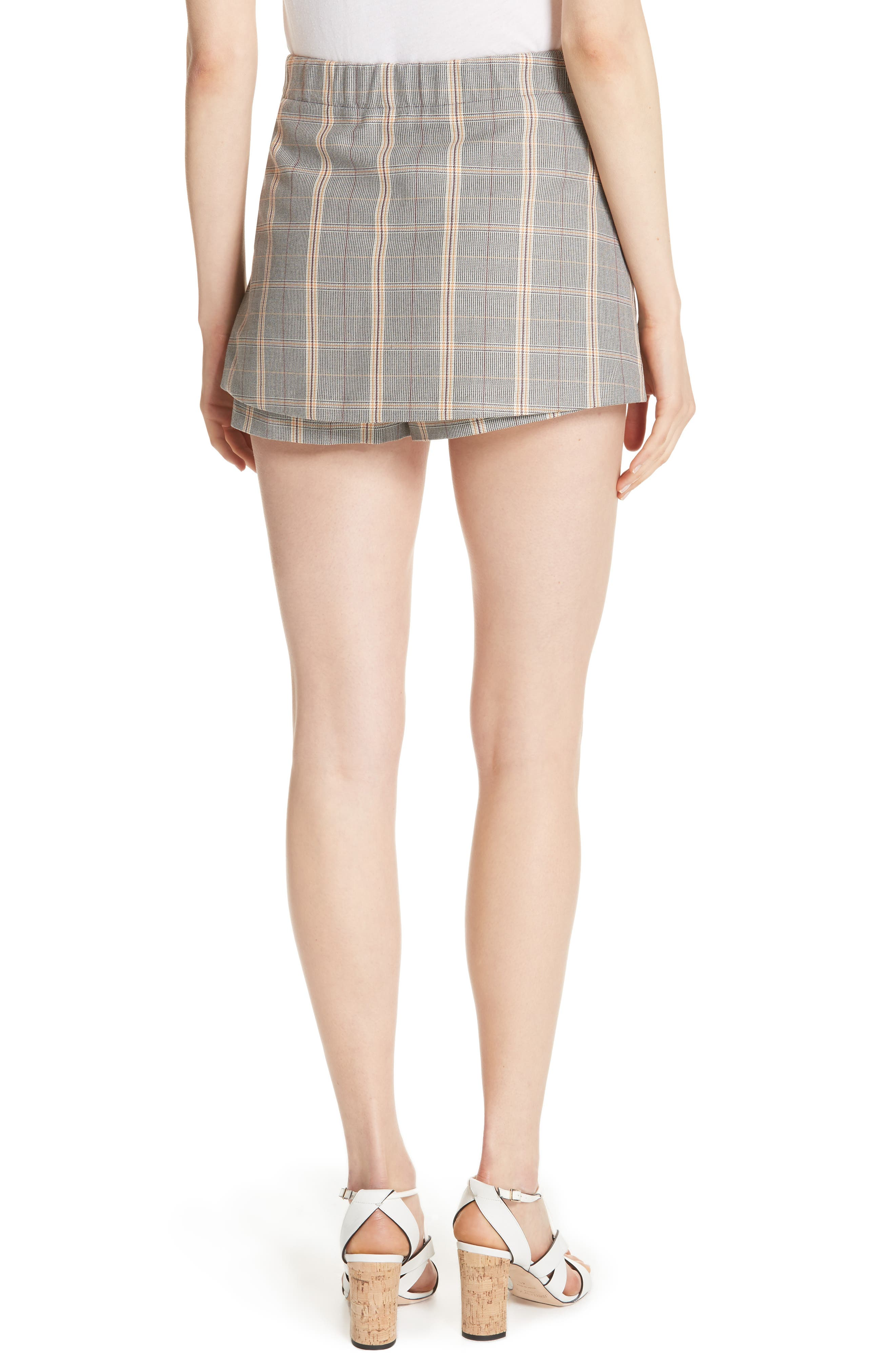 Plaid Skirt Front Shorts,                             Alternate thumbnail 2, color,                             020