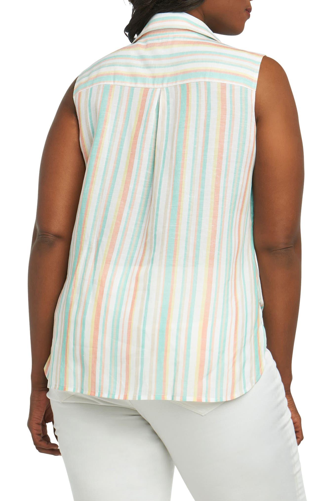 Lila Cabana Stripe Tie Hem Shirt,                             Alternate thumbnail 2, color,                             950